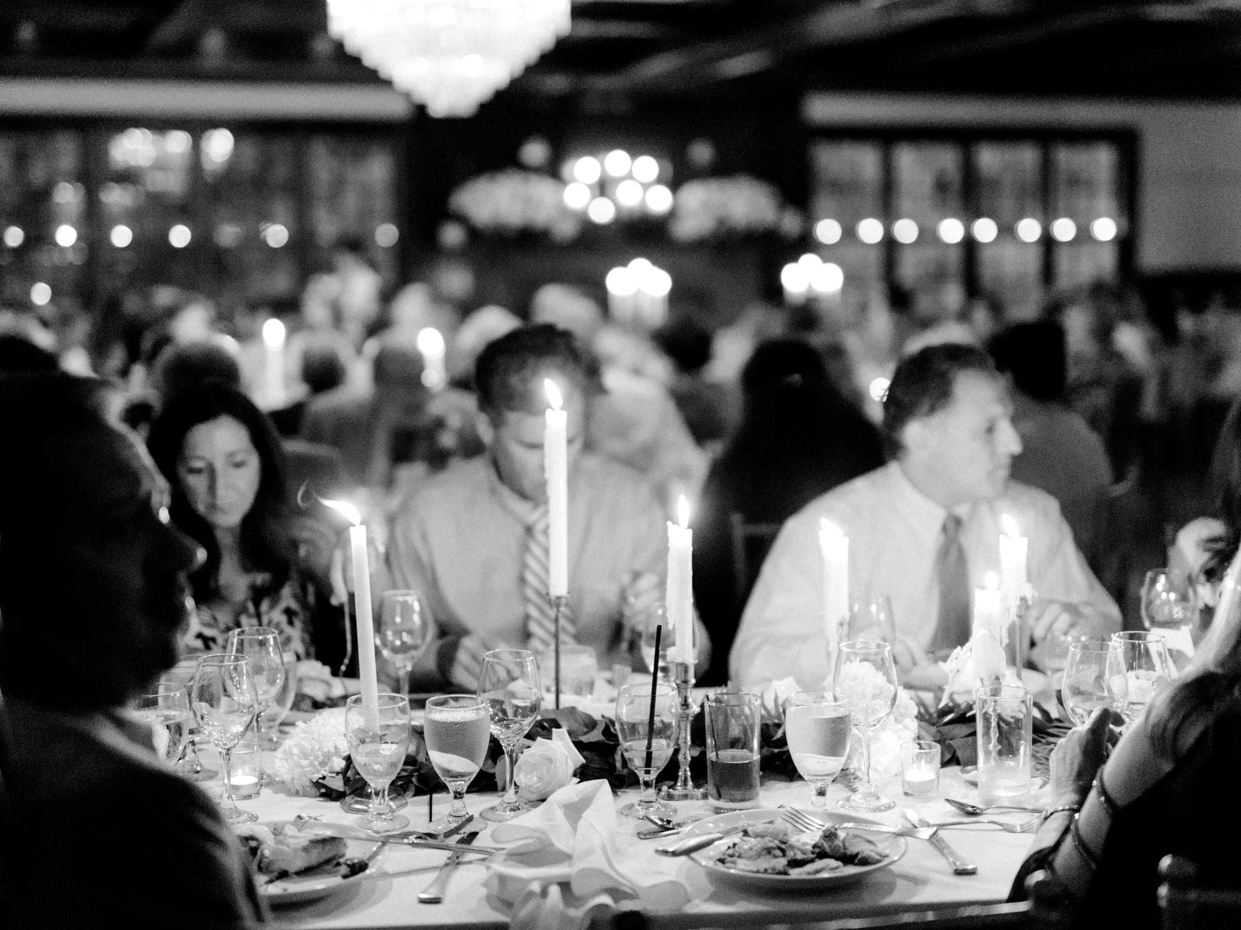 A romantic candlelit reception gives an intimate and romantic feel to this modern summer wedding at Hotel du Village.