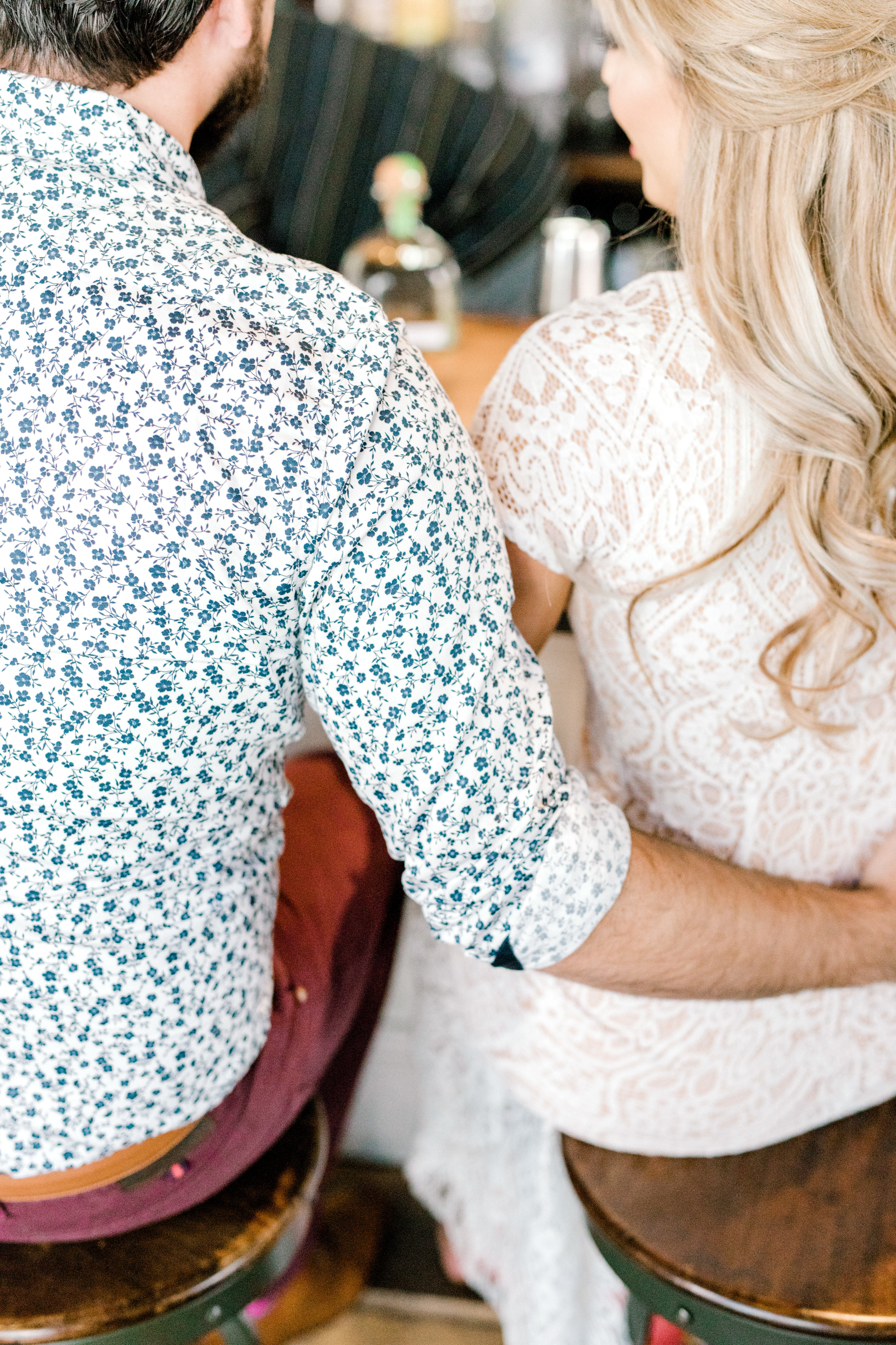 Arms around each other for this romantic fall engagement session at the Revolution House in Old City, Philadelphia.