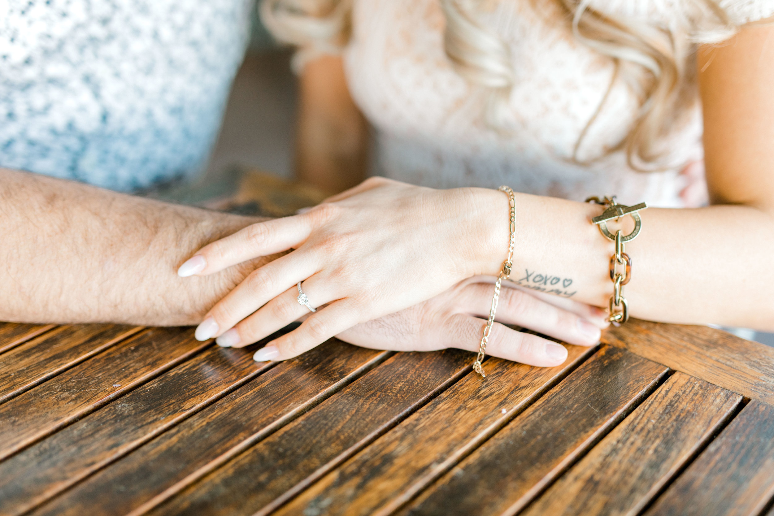 A simple and sweet engagement ring with a few fun gold accessories topped off Nikki's romantic fall engagement session look.