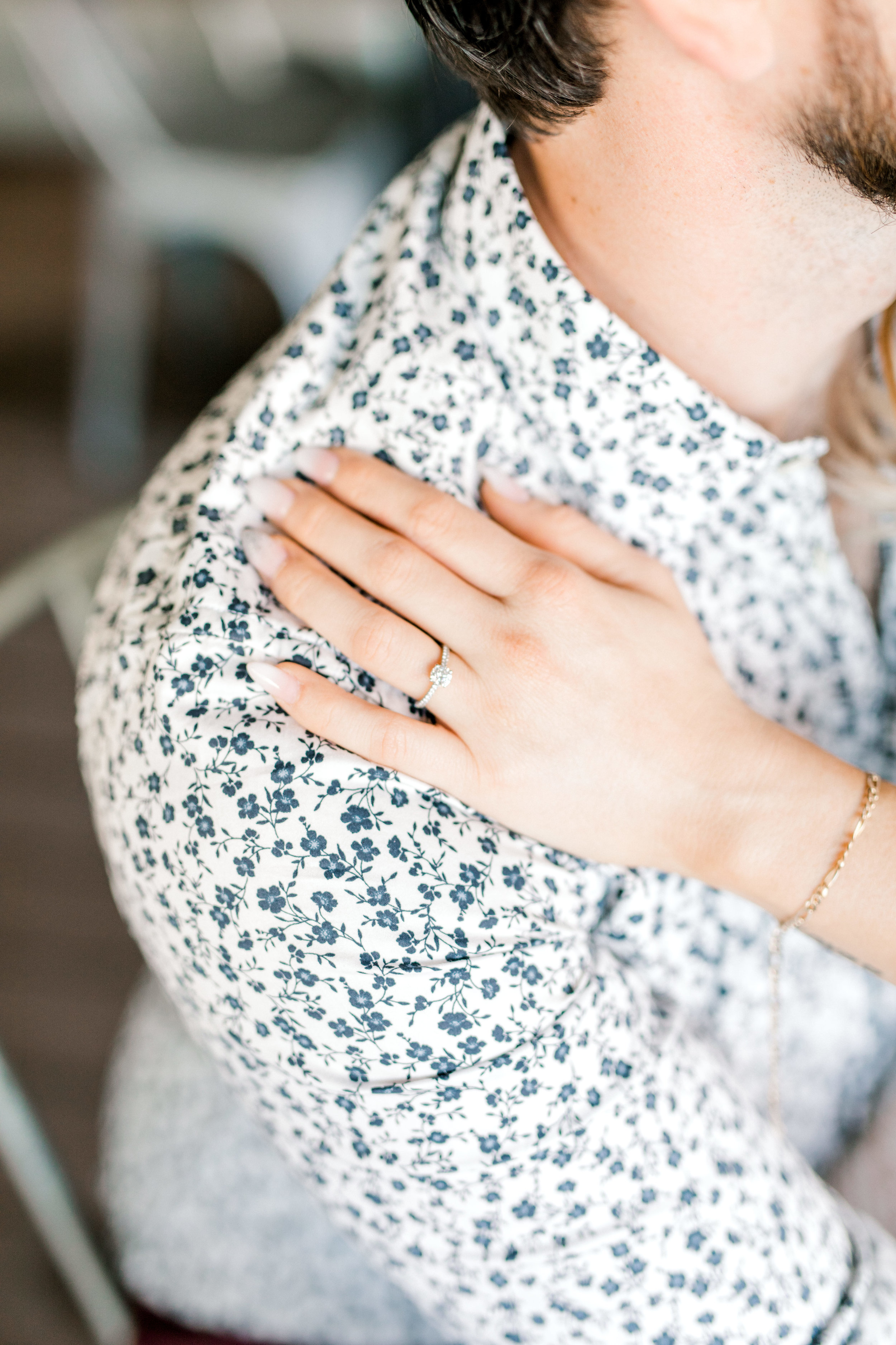 Nikki rings looks so good against the floral patterned shirt that Dale wore at their bright and romantic fall engagement session at the Revolution House in Old City, Philadelphia.