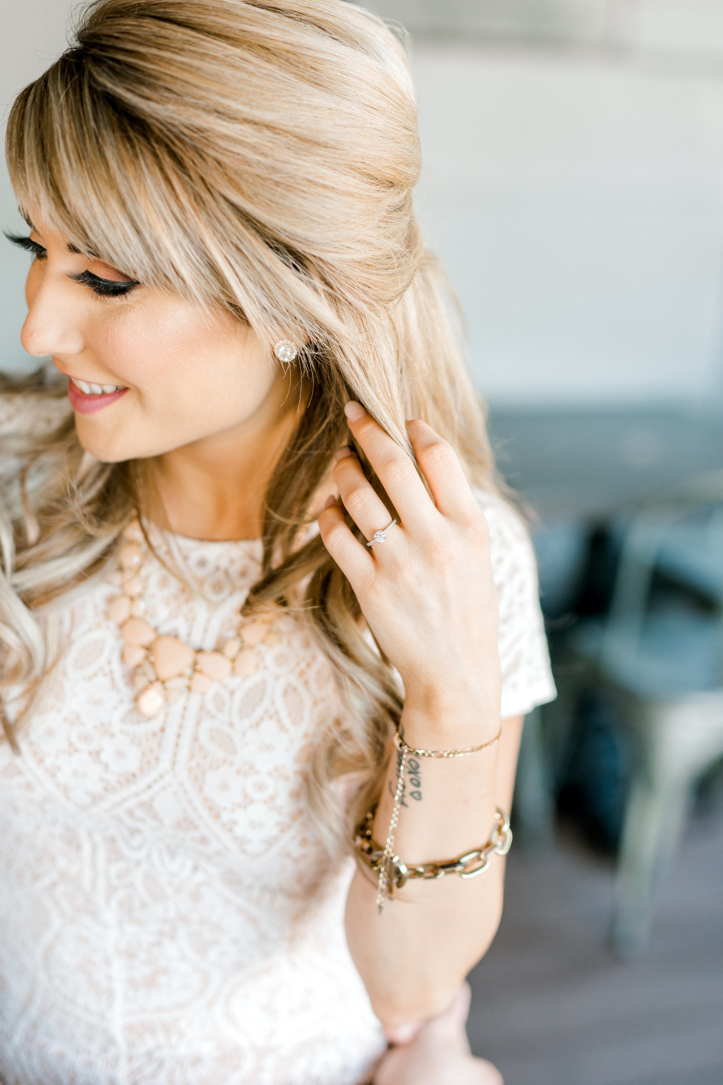 Nikki's half up and half down hair perfectly complemented her sweet lace dress for her bright and romantic fall engagement session at the Revolution House in Old City, Philadelphia.