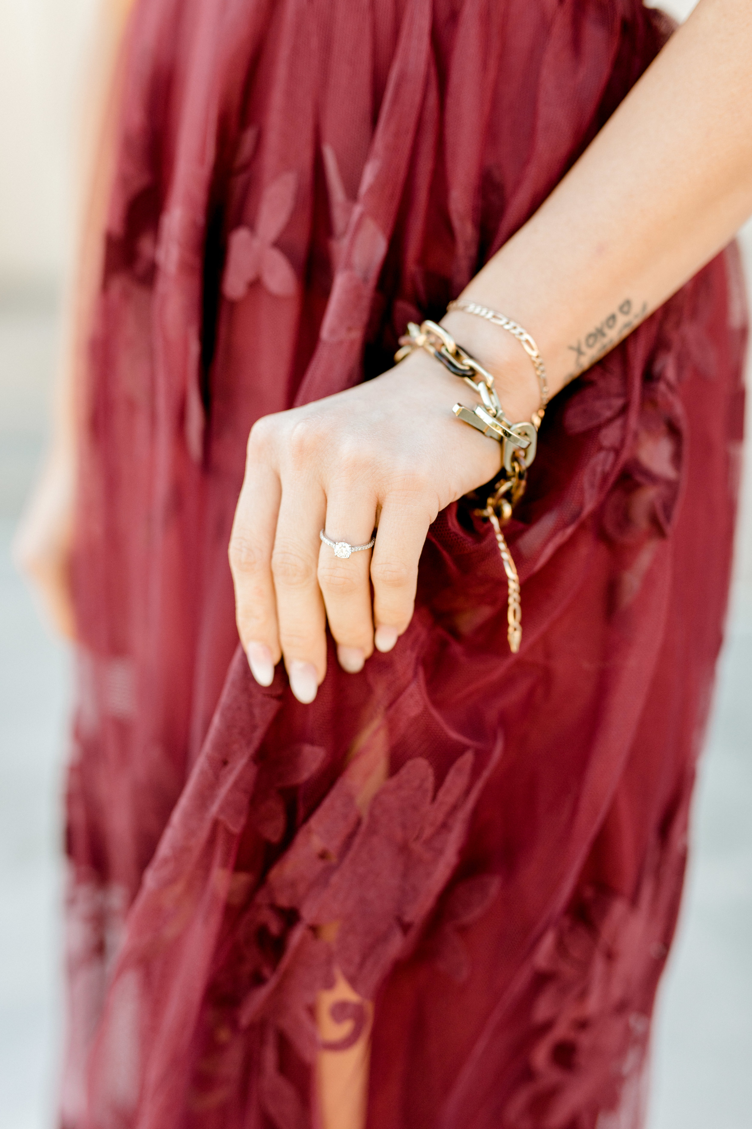 Nikki wore the most stunning burgundy dress for her bright and romantic fall engagement session in Old City, Philadelphia. Her ring just pops against this color!