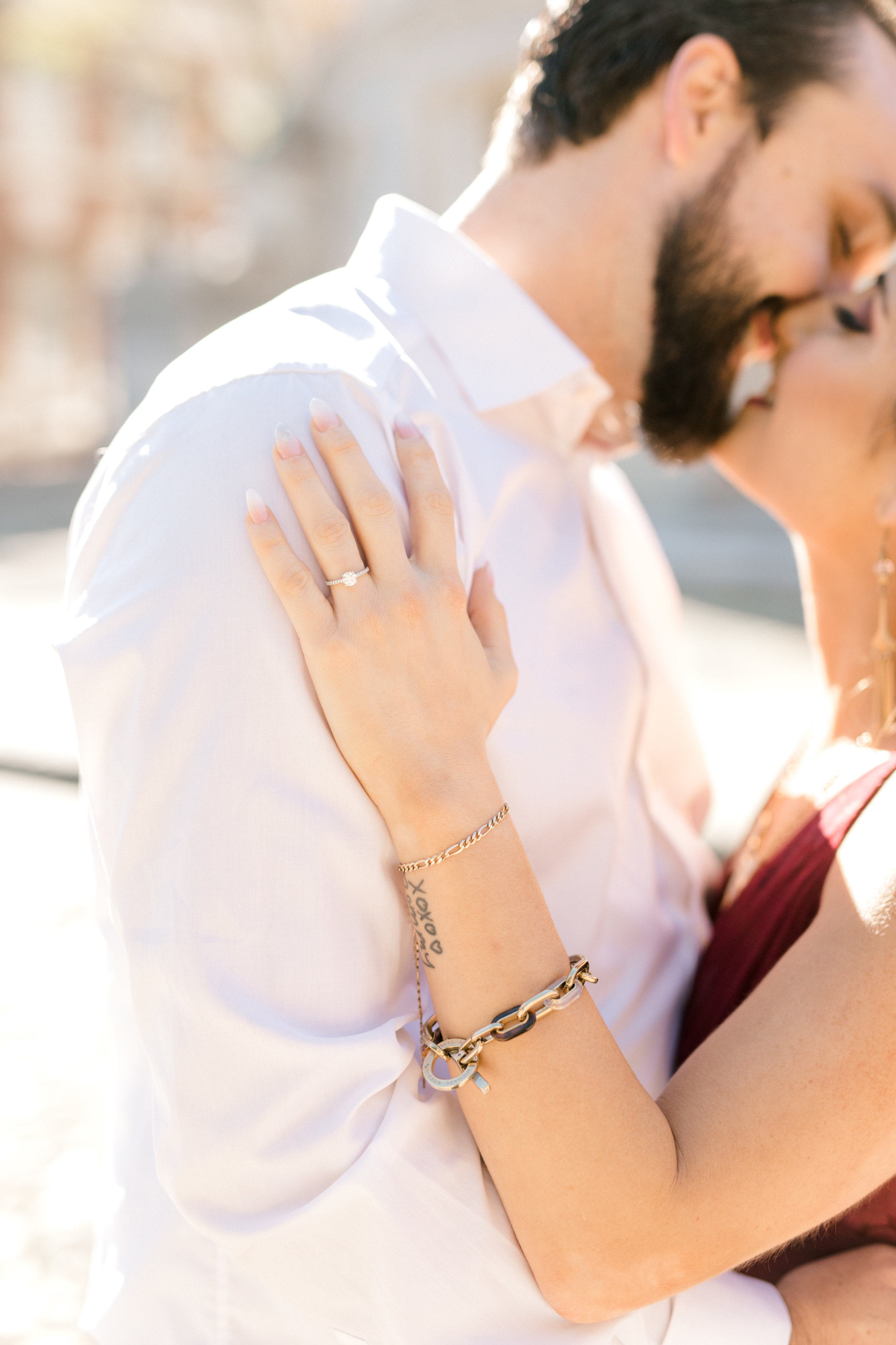 We love this simple sweet ring that Nikki is rocking at her bright and romantic fall engagement session in Old City, Philadelphia.