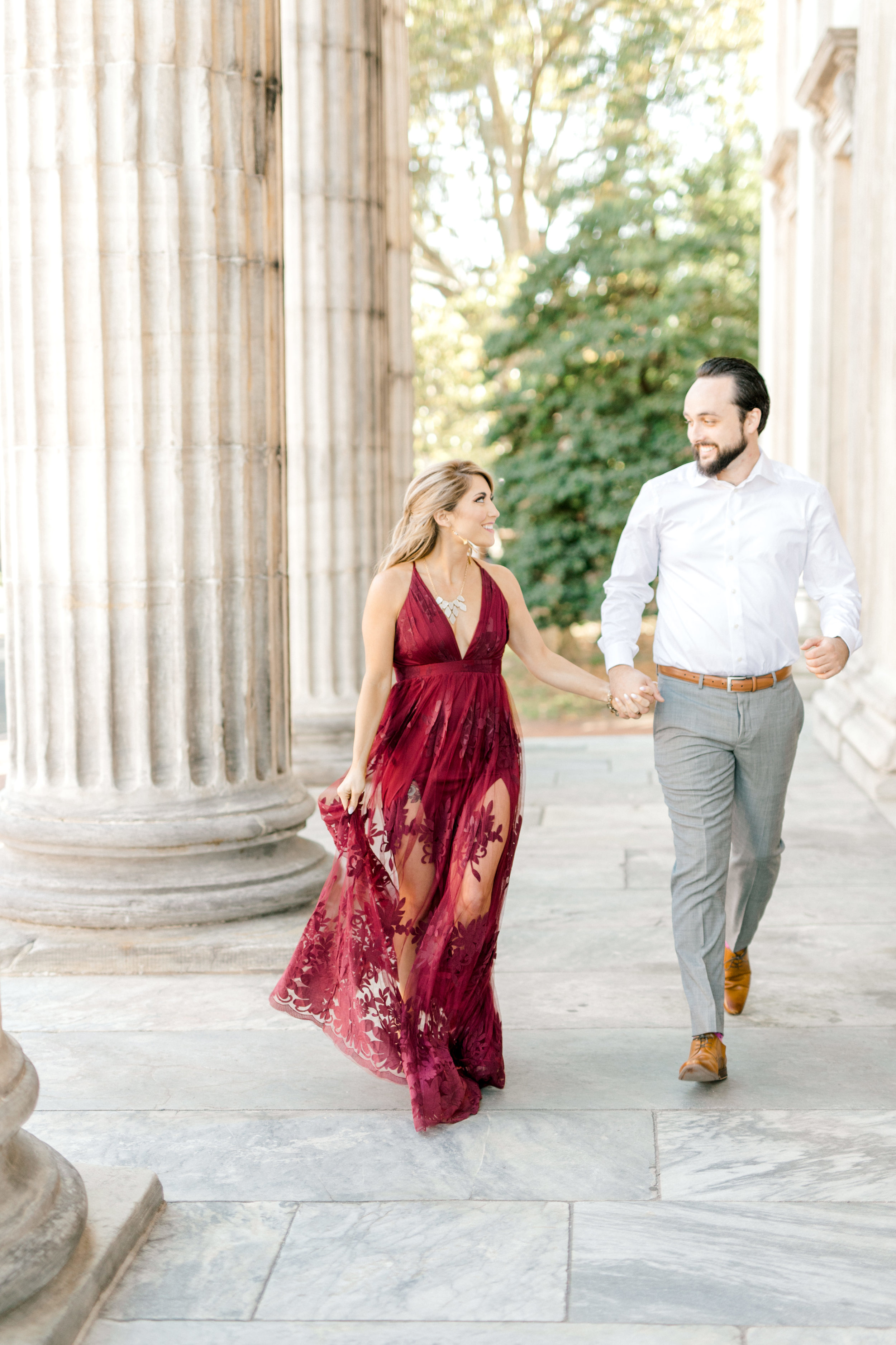 We loved the burgundy and white look for Nikki and Dale's romantic engagement session in Old City Philadelphia.