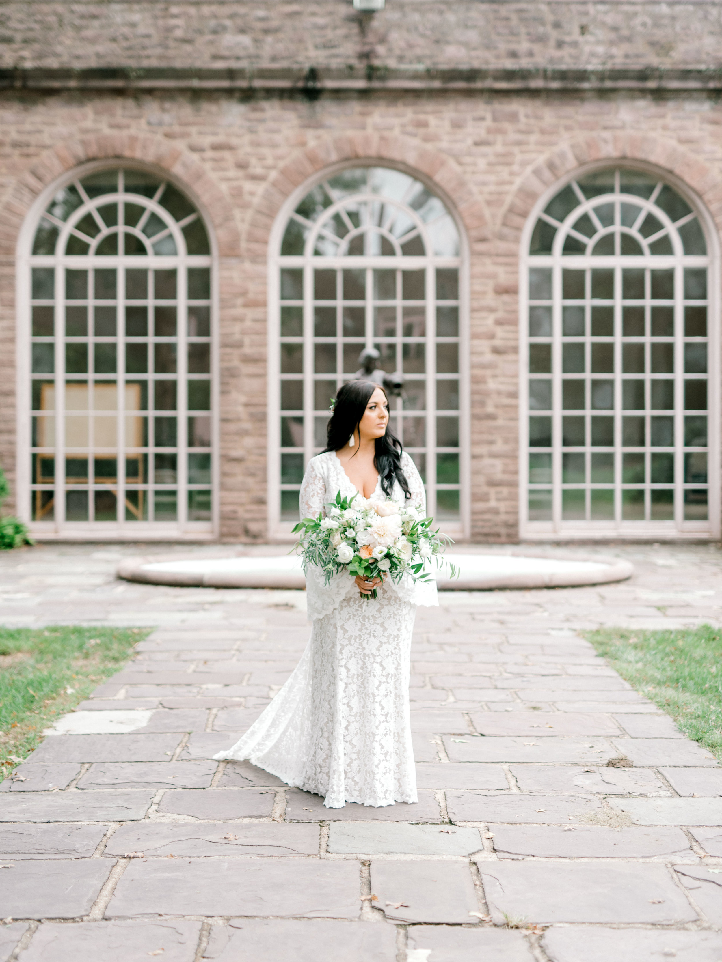 We simply adored the all over lace dress from BHLDN giving us all the hippy vibes from Alicia's bright boho chic Tyler Gardens wedding in Bucks County