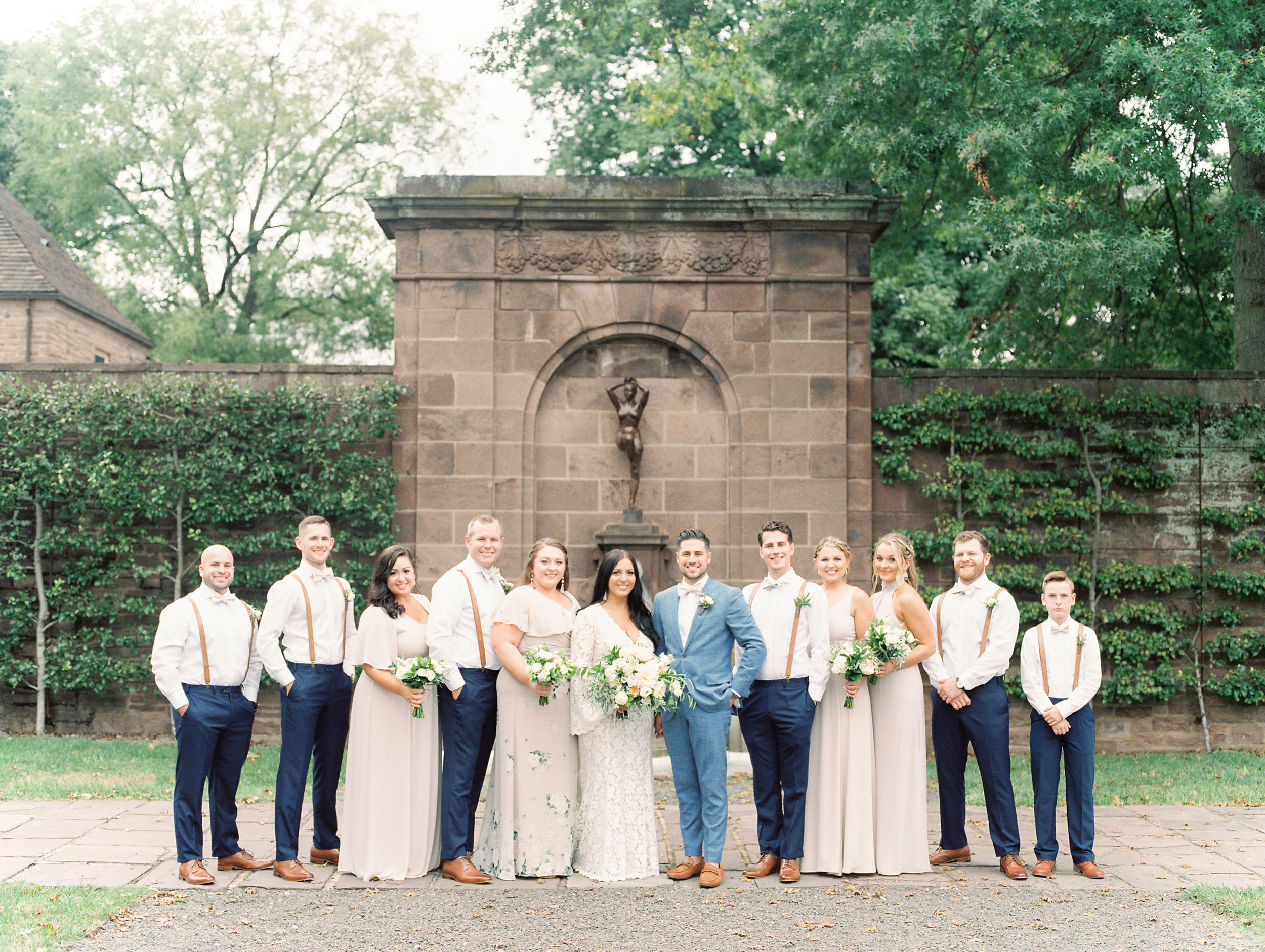 This bridal party won us over in timeless shades of blue, nude, and white from this bright boho chic Tyler Gardens wedding in Bucks County