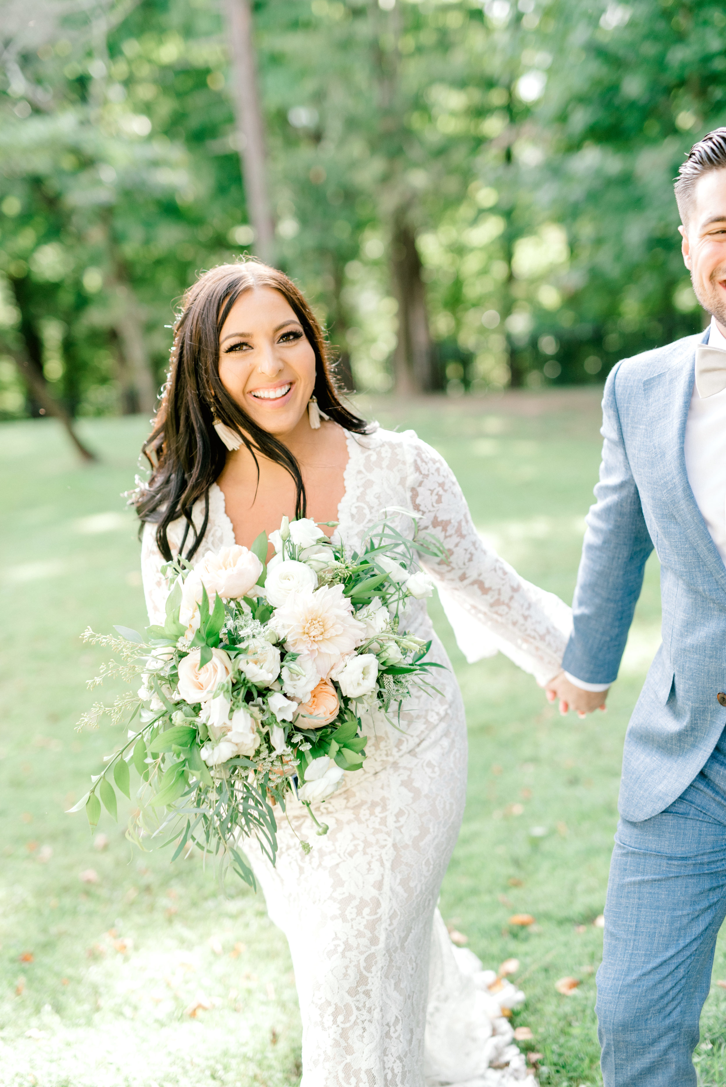 We love the sun in the afternoon and this happy couple smiling at their bright boho chic Tyler Gardens wedding in Bucks County