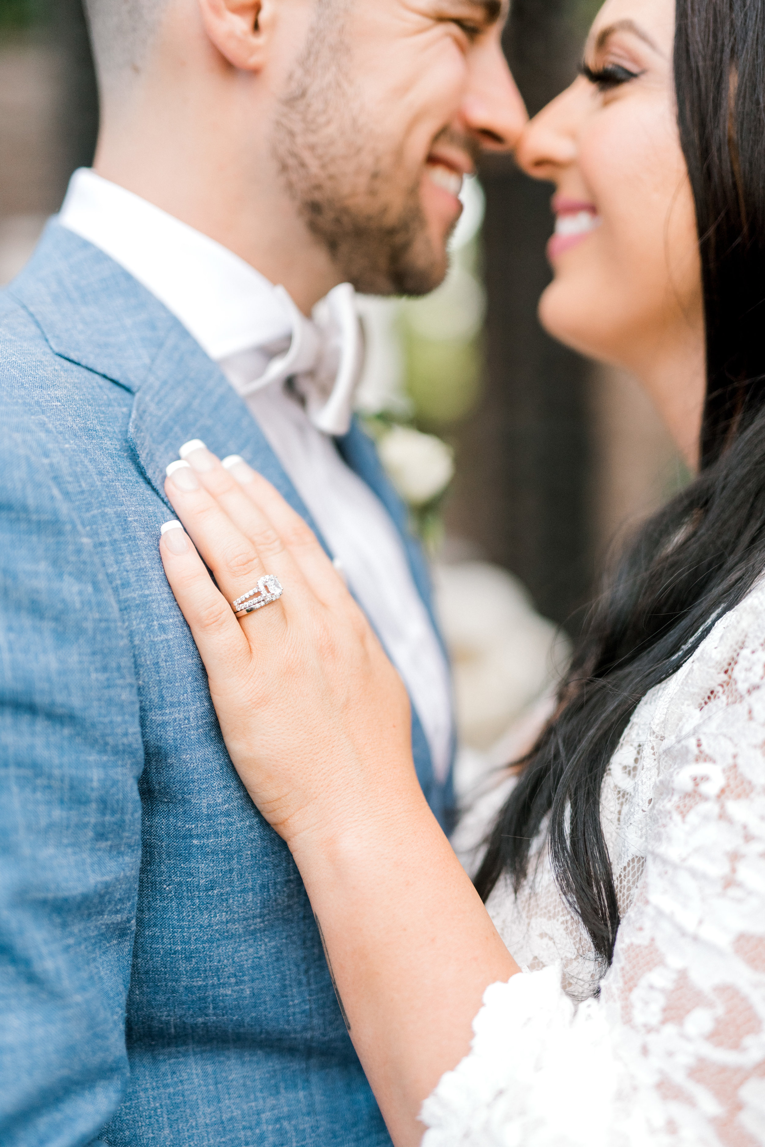Check out that square diamond with halo ring that Alicia rocked for her bright boho chic Tyler Gardens wedding in Bucks County