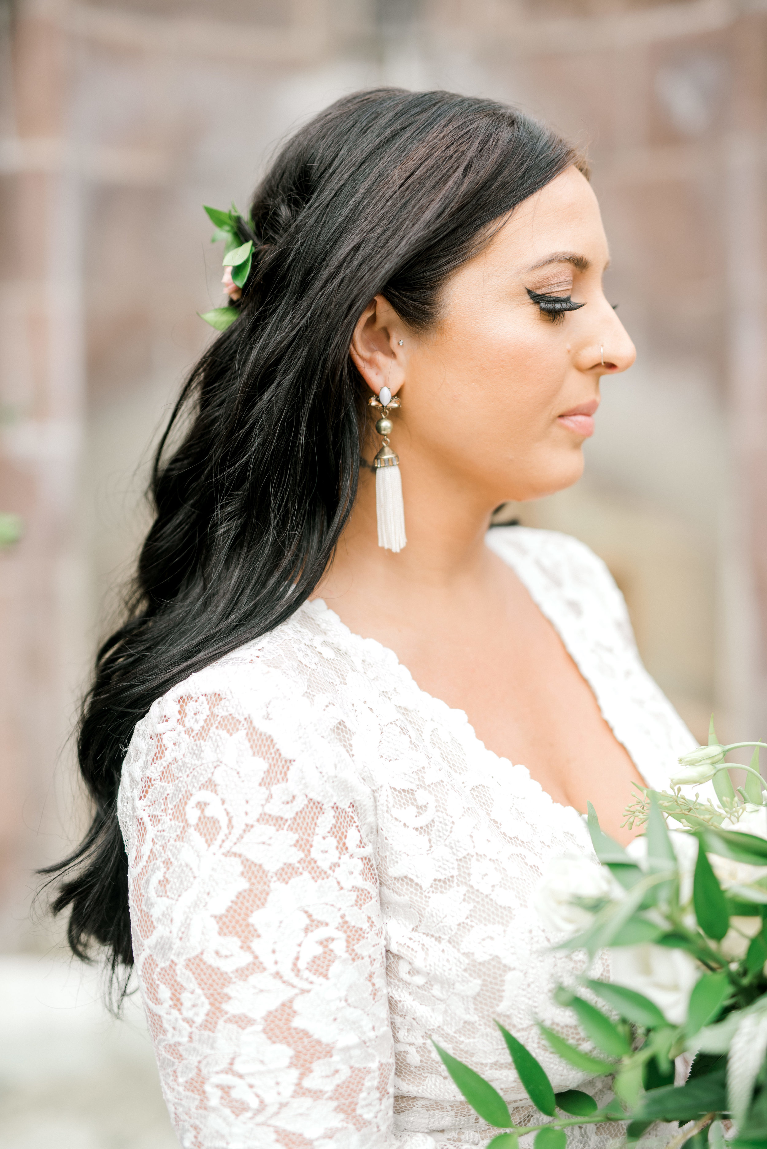 Alicia had such a timeless look, mixing some funky tassel earrings with a lace gown from BHLDN for her bright boho chic Tyler Gardens wedding in Bucks County