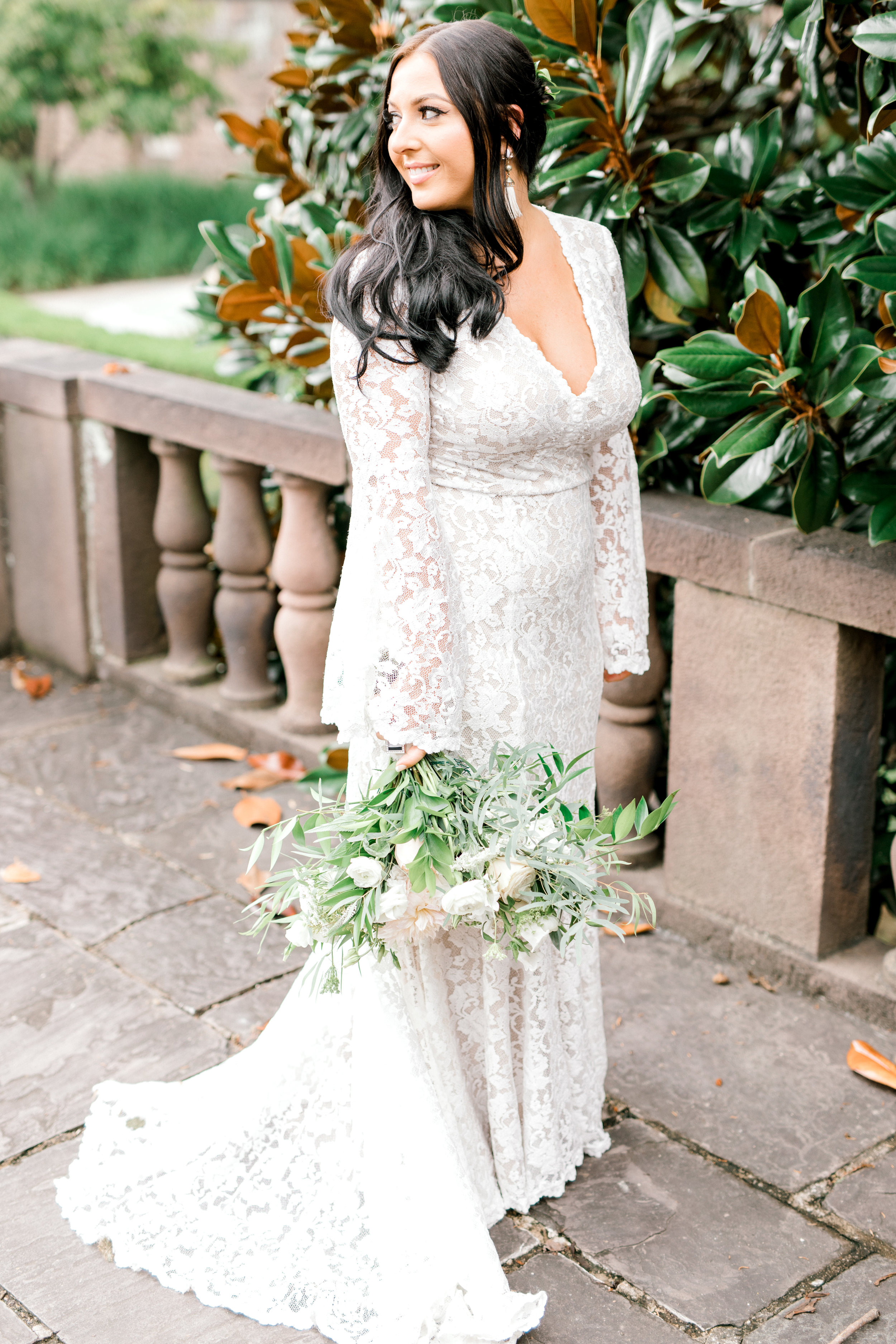 We love the modern feel of this lace BHLDN gown from Alicia's bright boho chic Tyler Gardens wedding in Bucks County