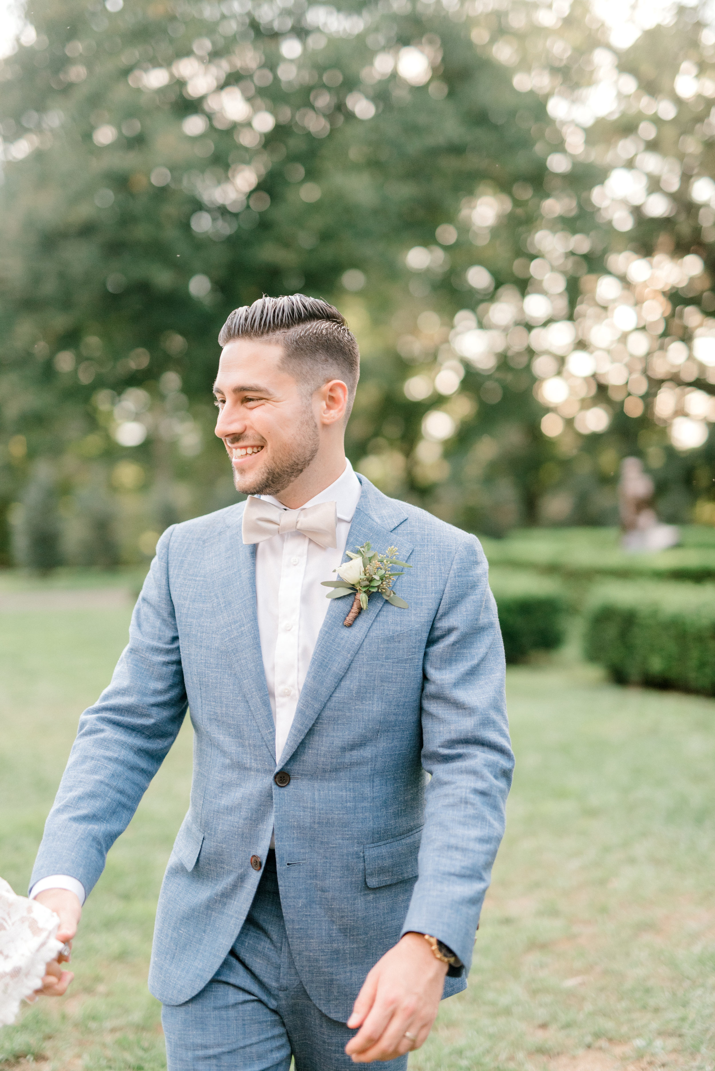 We loved the stylish look of this sleek light blue suit that Mike wore to his bright boho chic Tyler Gardens wedding in Bucks County