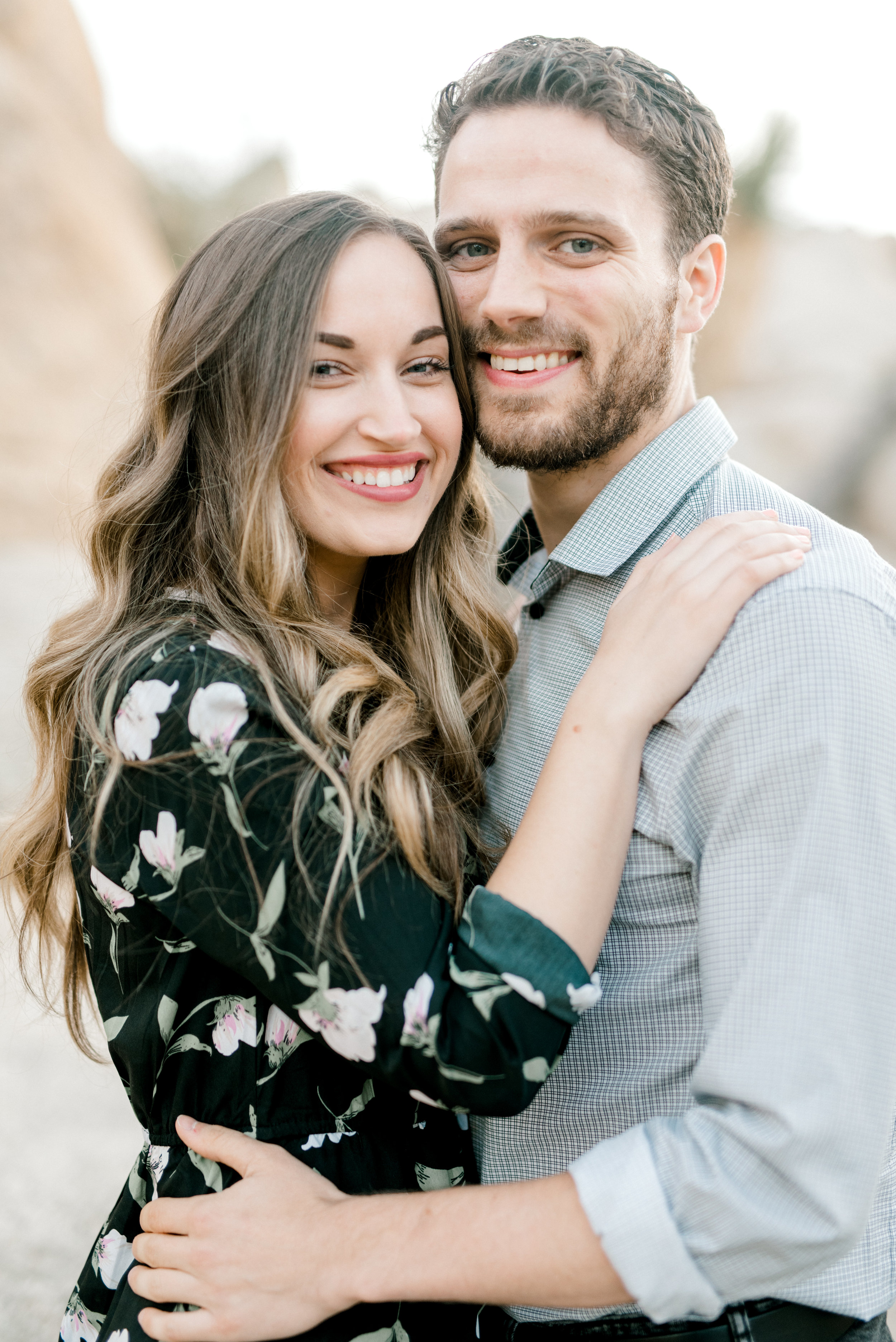 We can't get over Jenna and Sam's smiles from their free-spirited desert engagement session in Joshue Tree