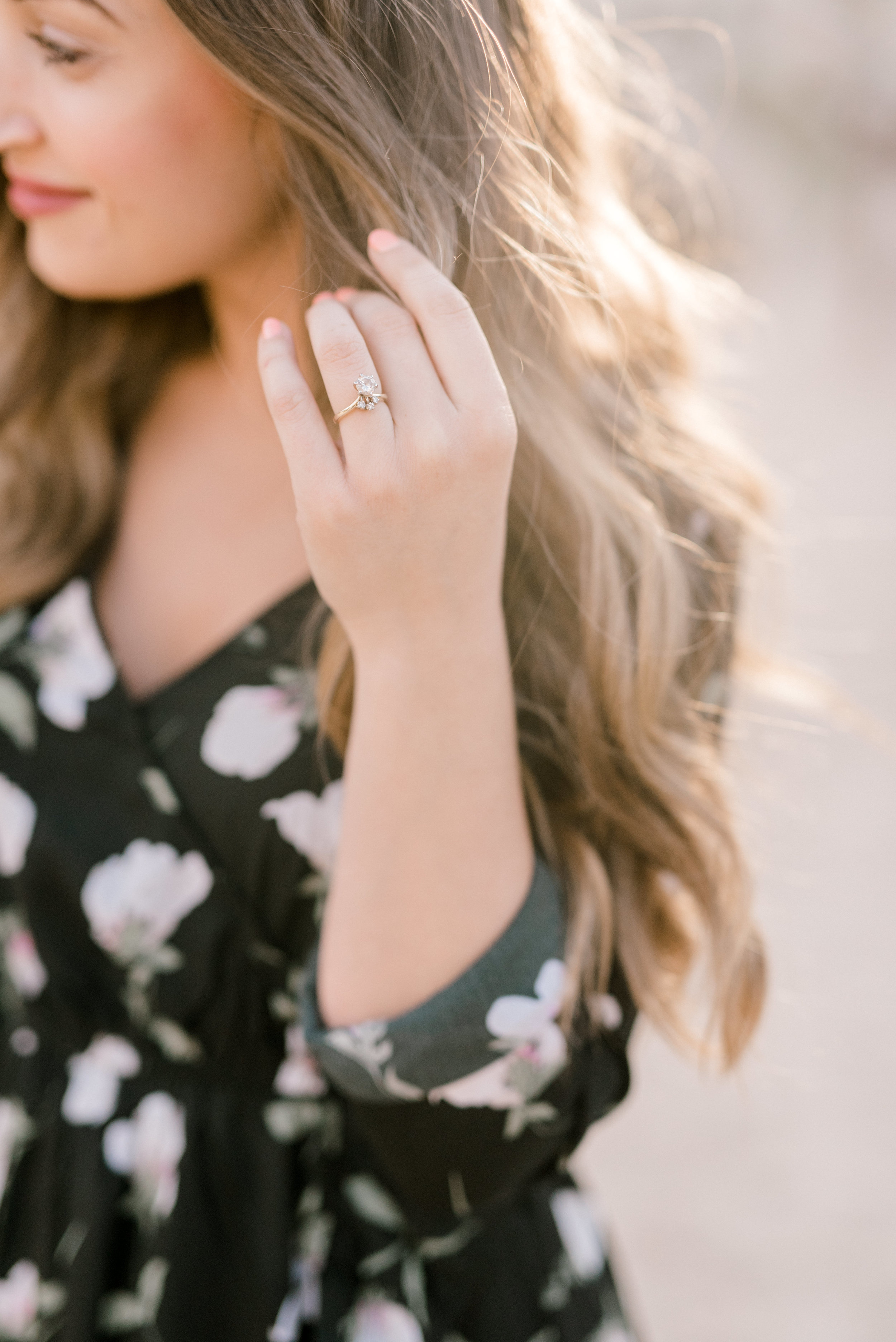 Have you ever seen a cooler modern engagement ring than this one from Jenna and Sam's free-spirited desert engagement session in Joshue Tree
