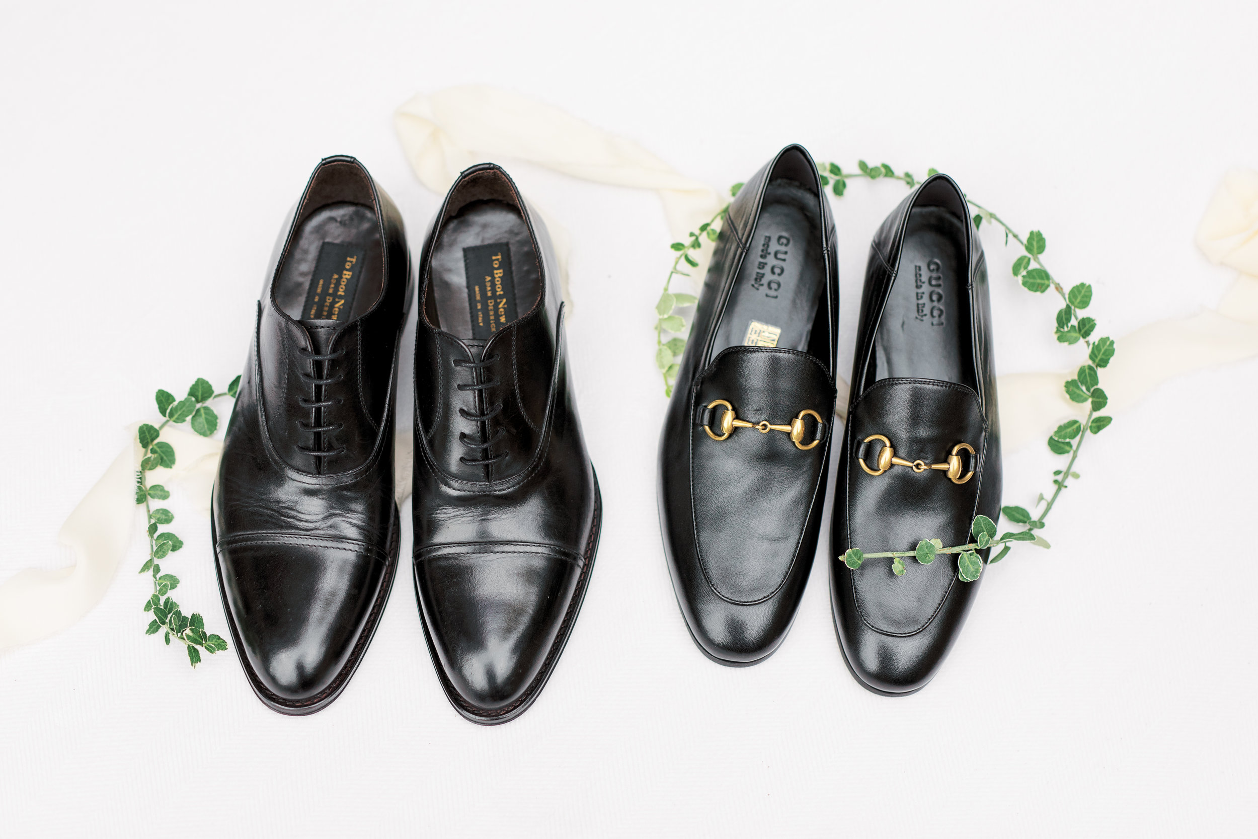 two grooms with gucci shoes on their Philadelphia wedding day