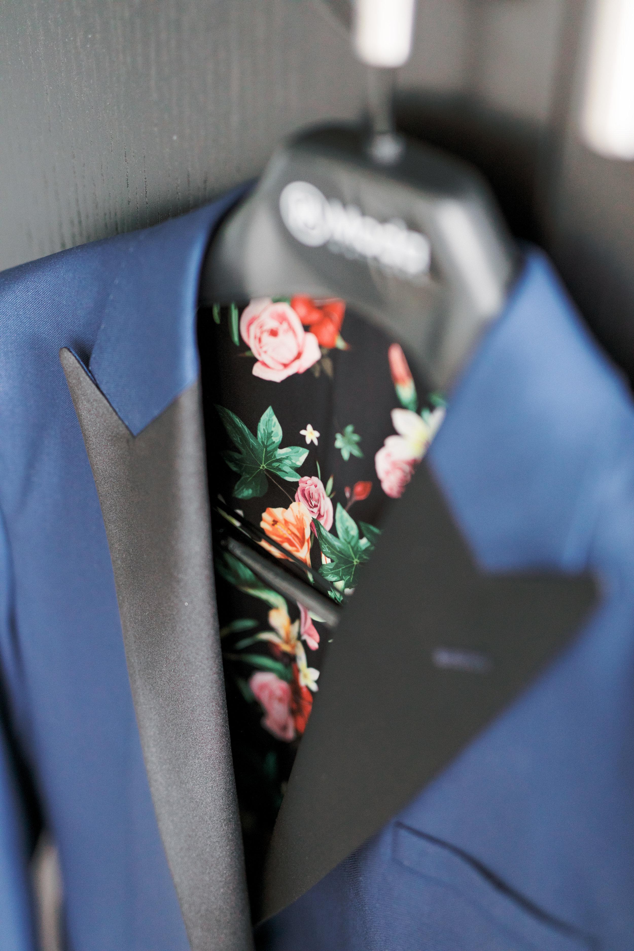 groom tux jacket with floral interior design