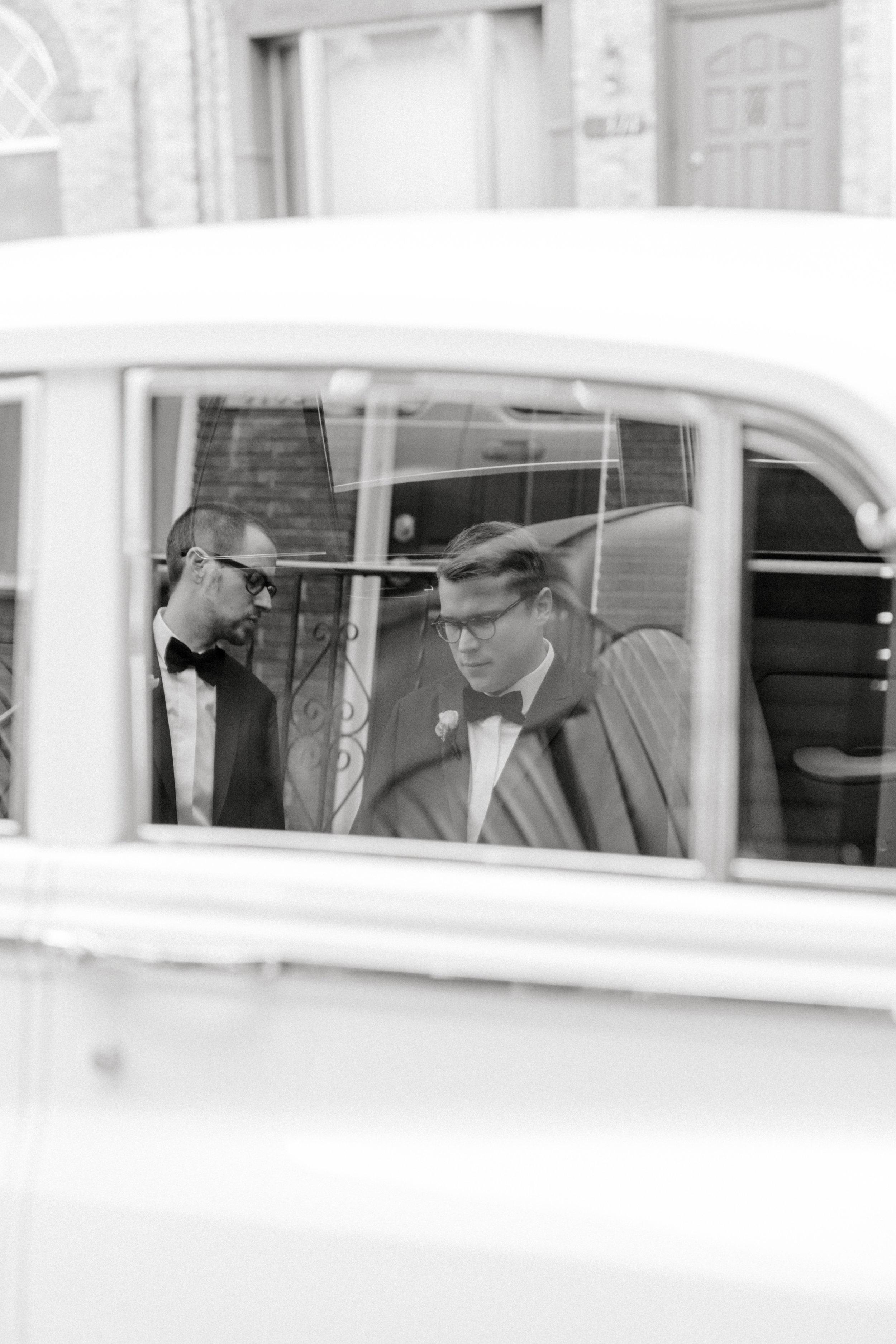 Rolls Royce on two grooms classic Philadelphia wedding day