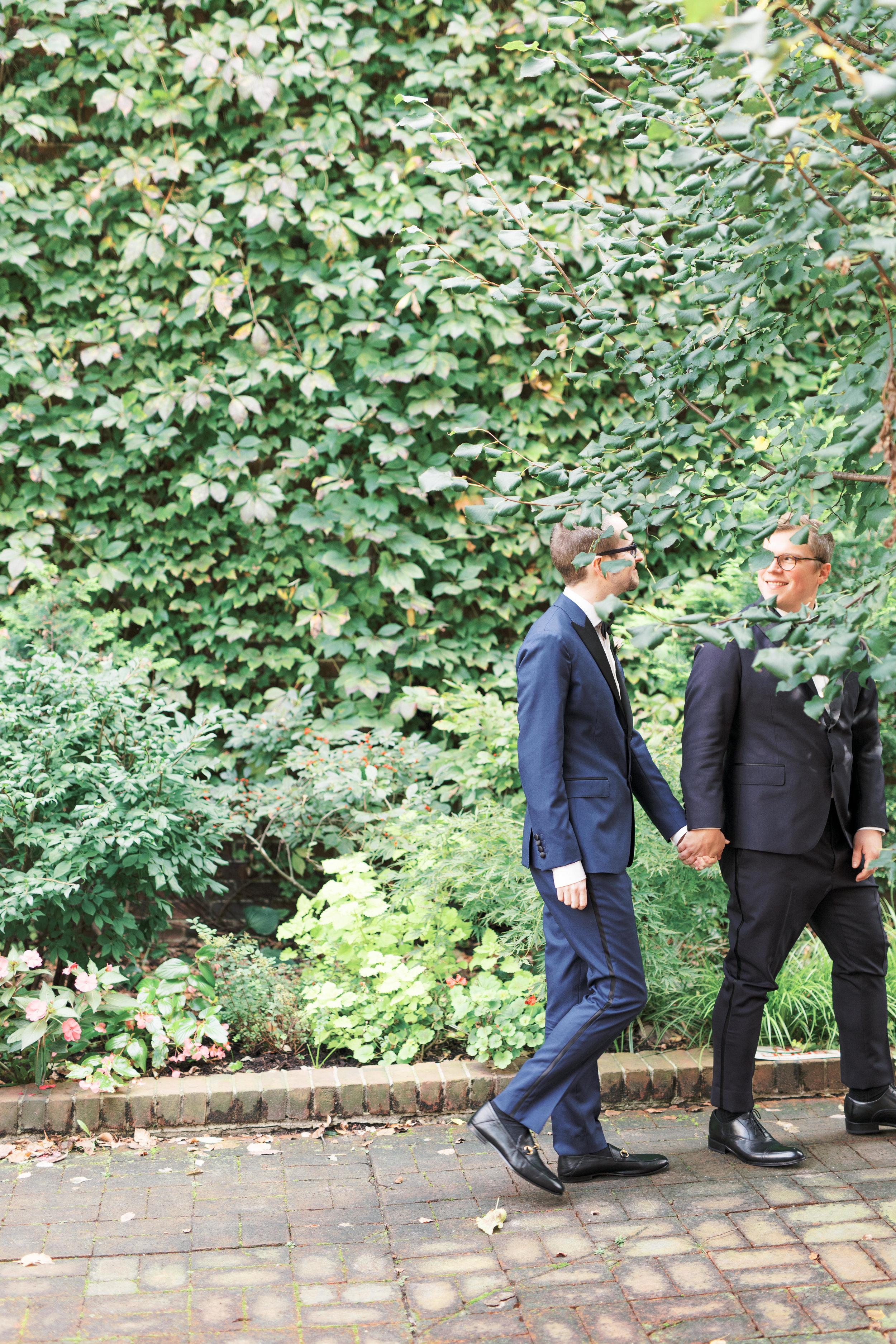 same sex wedding, two grooms with glasses on their Philadelphia wedding day, Old City Philadelphia