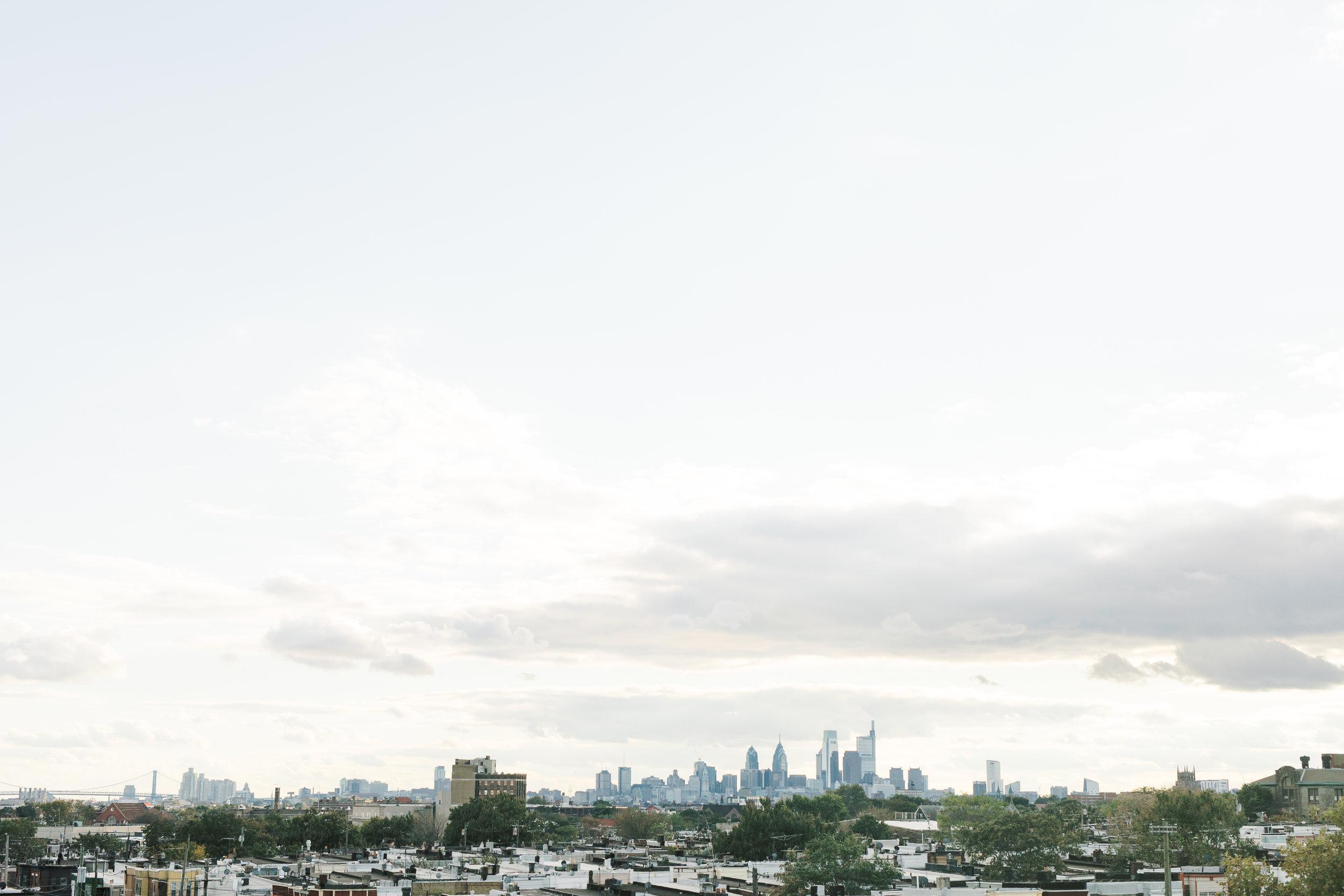 skyline view of Philadelphia from FAME, an industrial and modern Philadelphia wedding venue