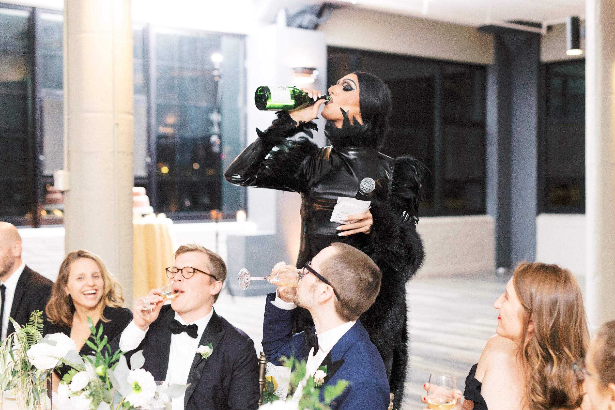 drag queen toast at a wedding reception in Philadelphia