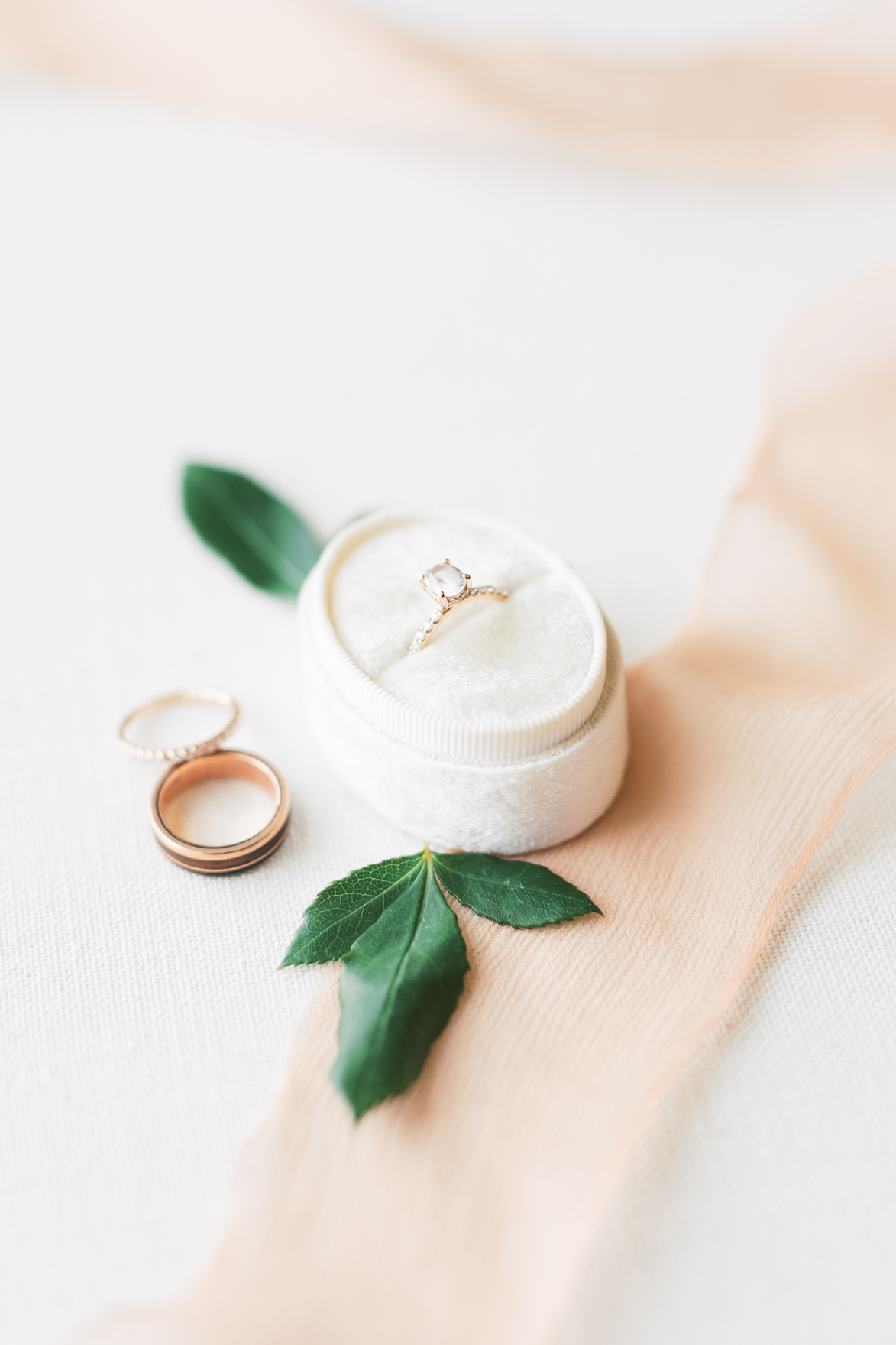 We simply adored this sustainable white sapphire ring from Dani and Missy's modern and elegant old city Philadelphia wedding at Power Plant Productions. Power Plant Production wedding photographer