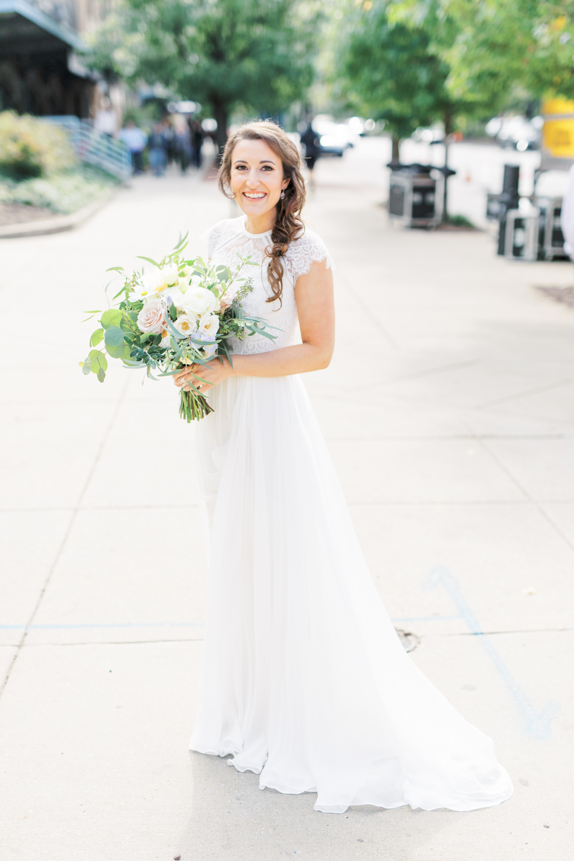 We simply adored Missy's long flowing wedding gown with lace top for her wedding day, it was the perfect fit for her modern and elegant old city Philadelphia wedding at Power Plant Productions. Power Plant Production wedding photographer