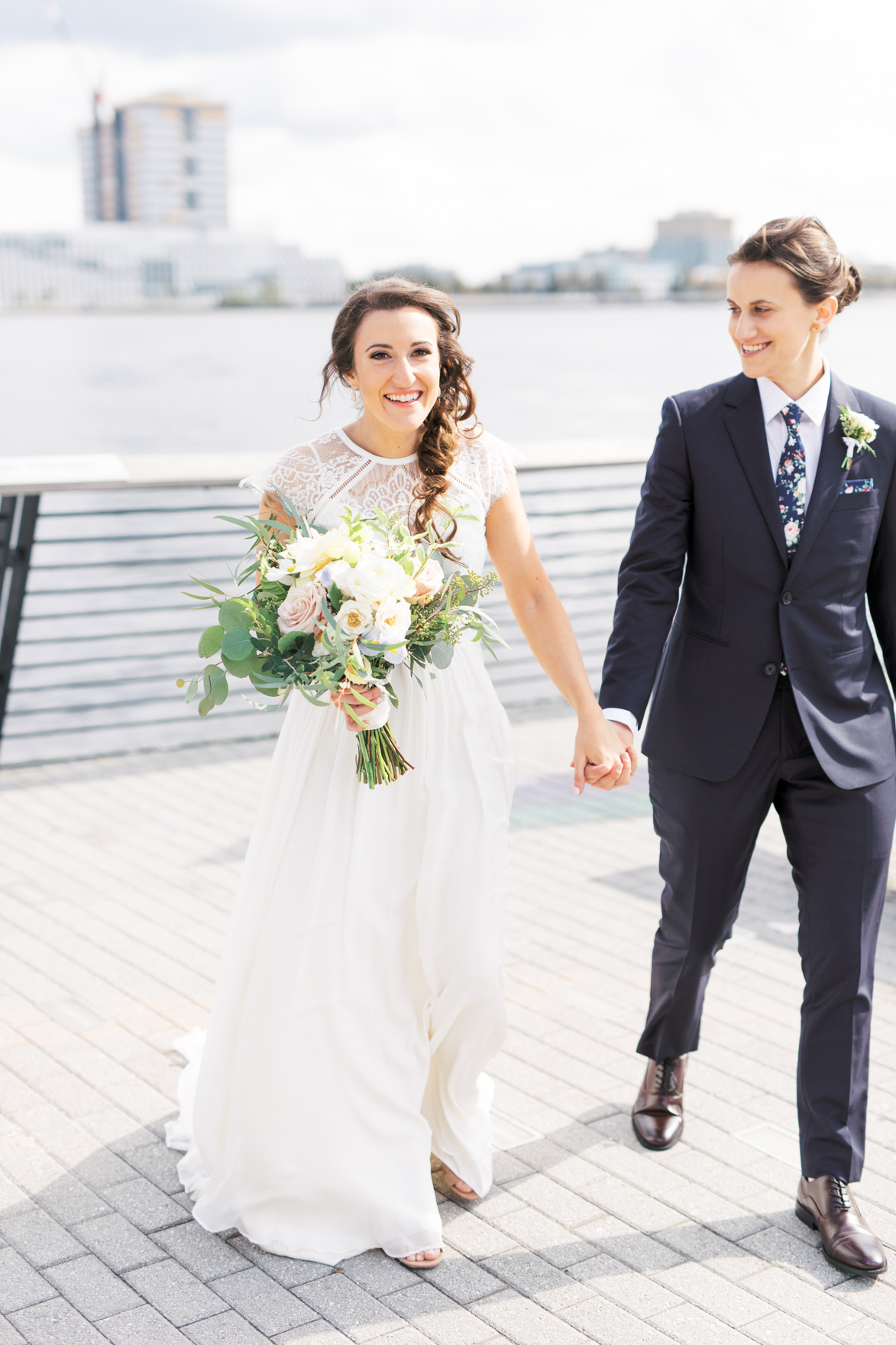 Dani and Missy had such a classic look for their wedding day with a modern twist. Missy's lace top and Dani's floral tie added just a little bit quirkiness into their modern and elegant old city Philadelphia wedding at Power Plant Productions. Power Plant Production wedding photographer