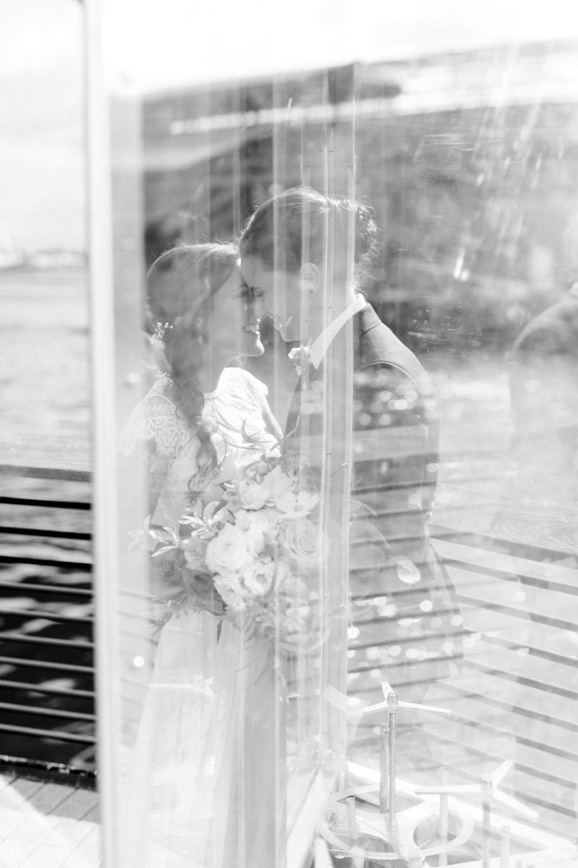 This temporary geometric installation at Race Street Pier gave us some fun reflections to play with for portraits at this modern and elegant old city Philadelphia Power Plant Productions wedding. Power Plant Production wedding photographer