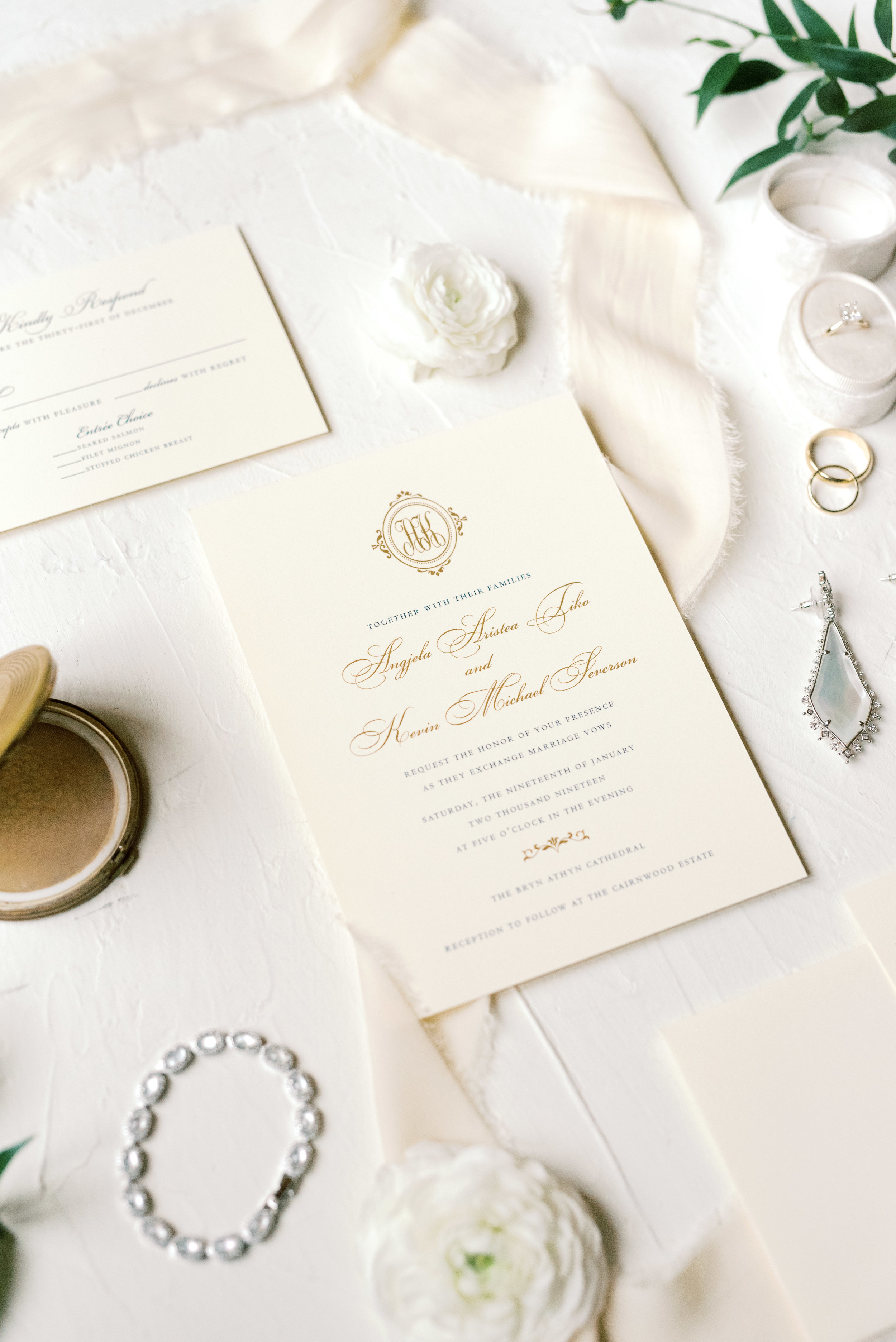 We simply adore the elegance of a traditional white invitation with a little pop of gold foil, it was the perfect match for this romantic and classic wedding day for their french inspired green and white Cairnwood Estate wedding.