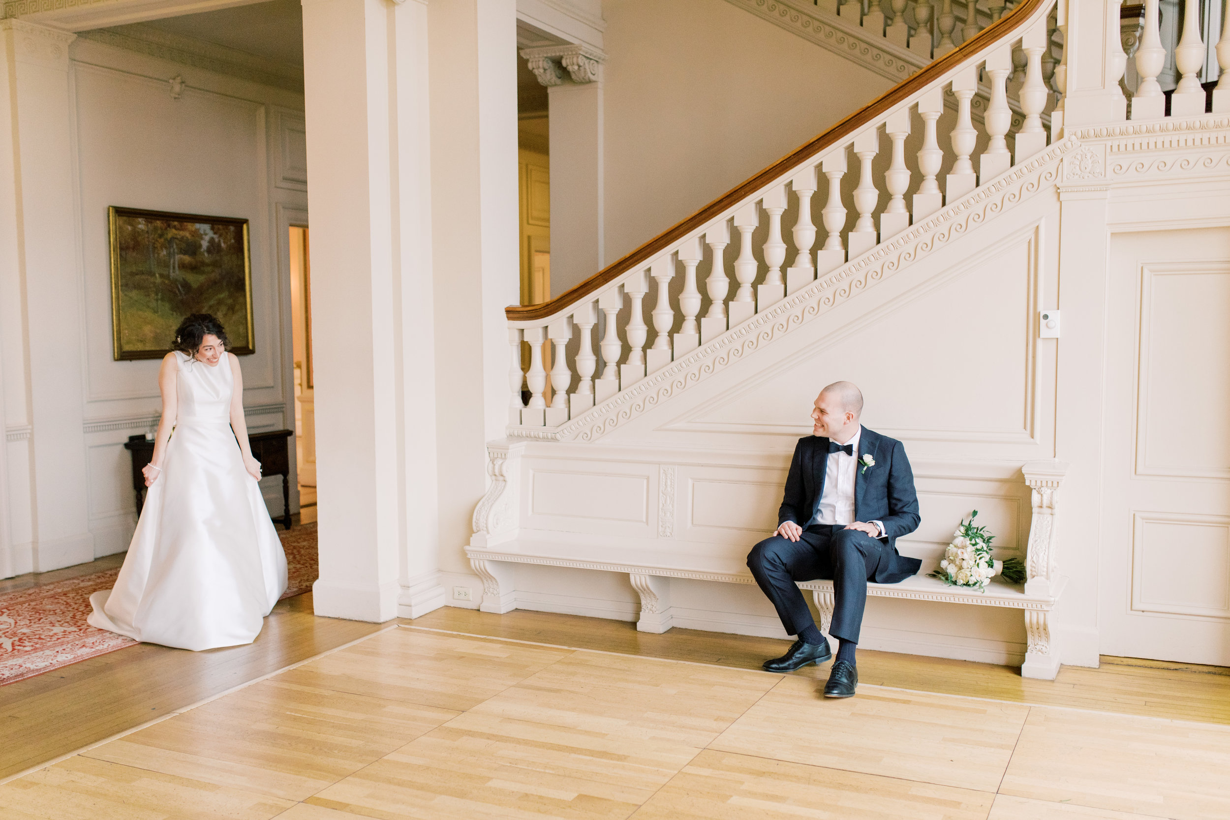 We get all the feels when our bride and grooms have their first look, just like this special moment from this romantic and classic wedding day for their french inspired green and white Cairnwood Estate wedding