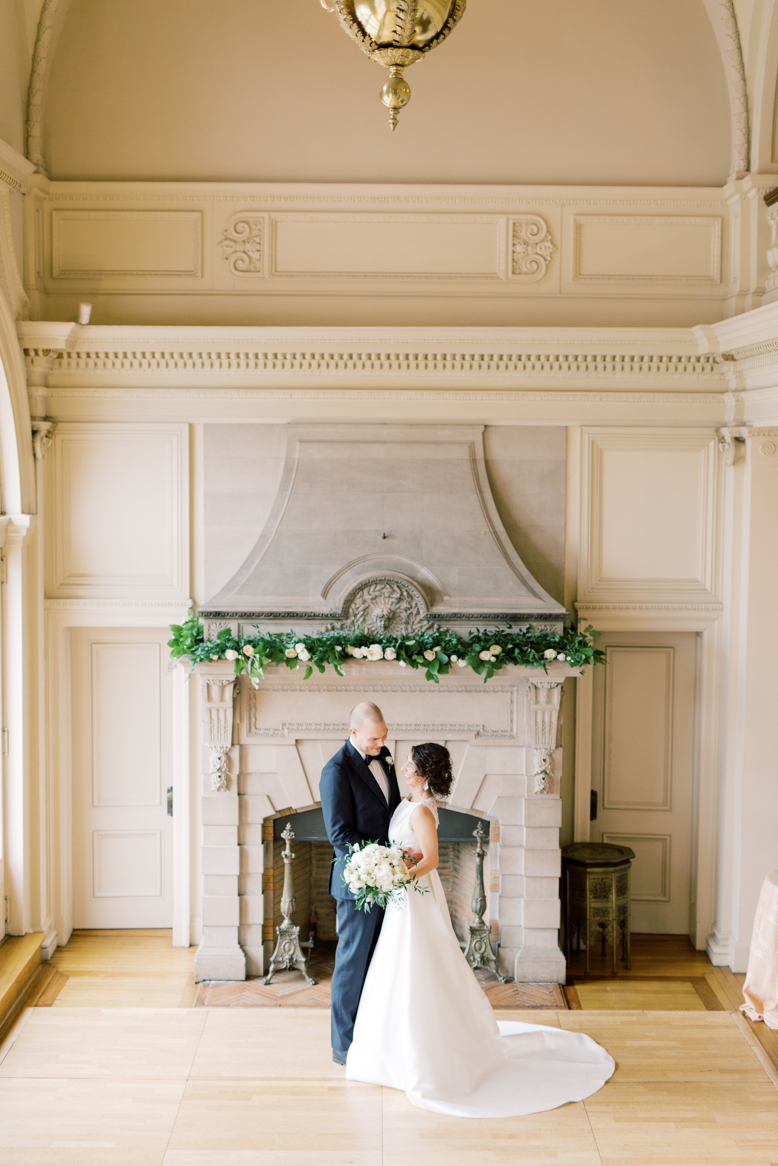 Our bride and groom in the great hall of this old French mansion were perfect for this romantic and classic wedding day for their french inspired green and white Cairnwood Estate wedding