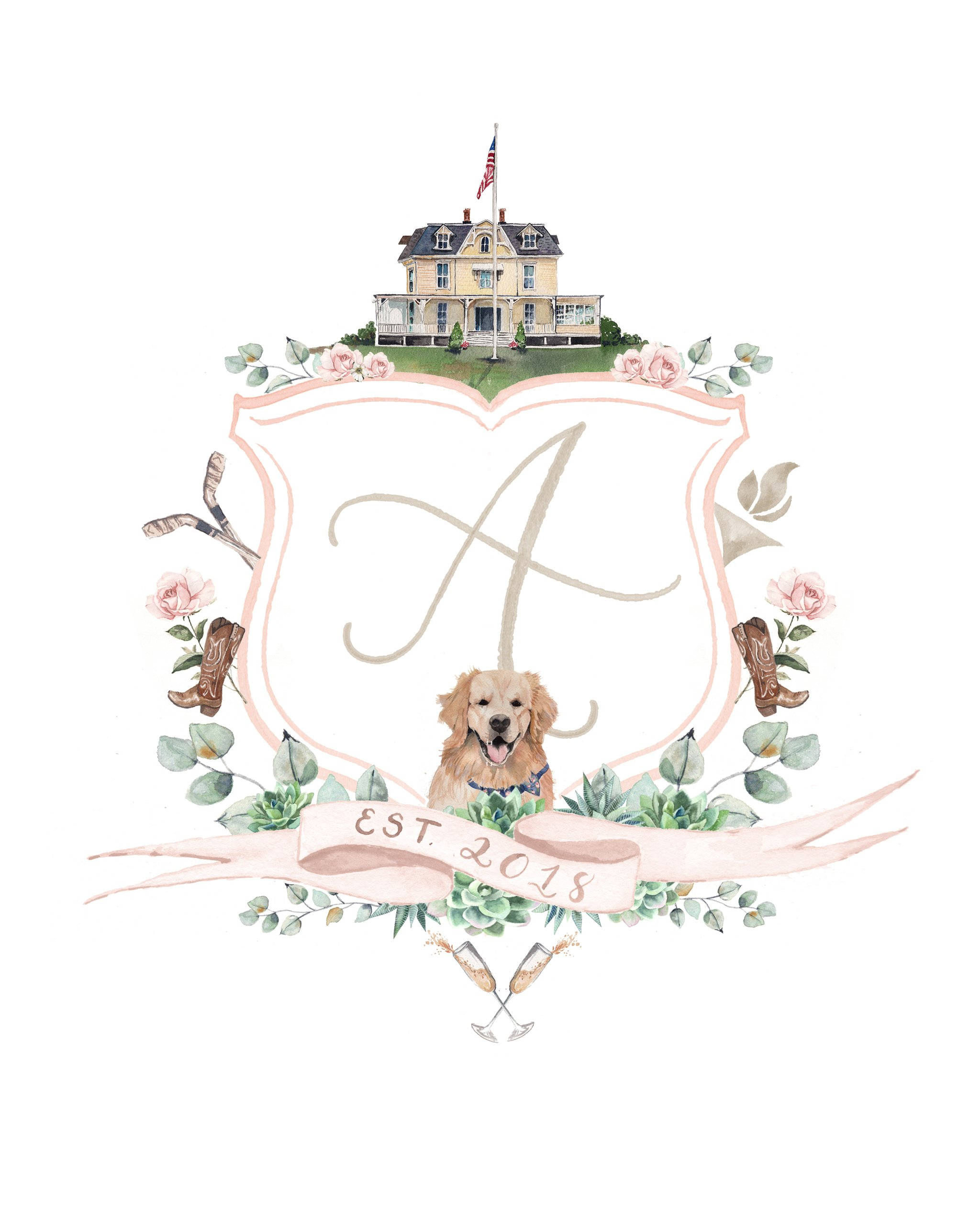 A sweet watercolor crest that you can adorn on all of your stationery to tie it all together cohesively.