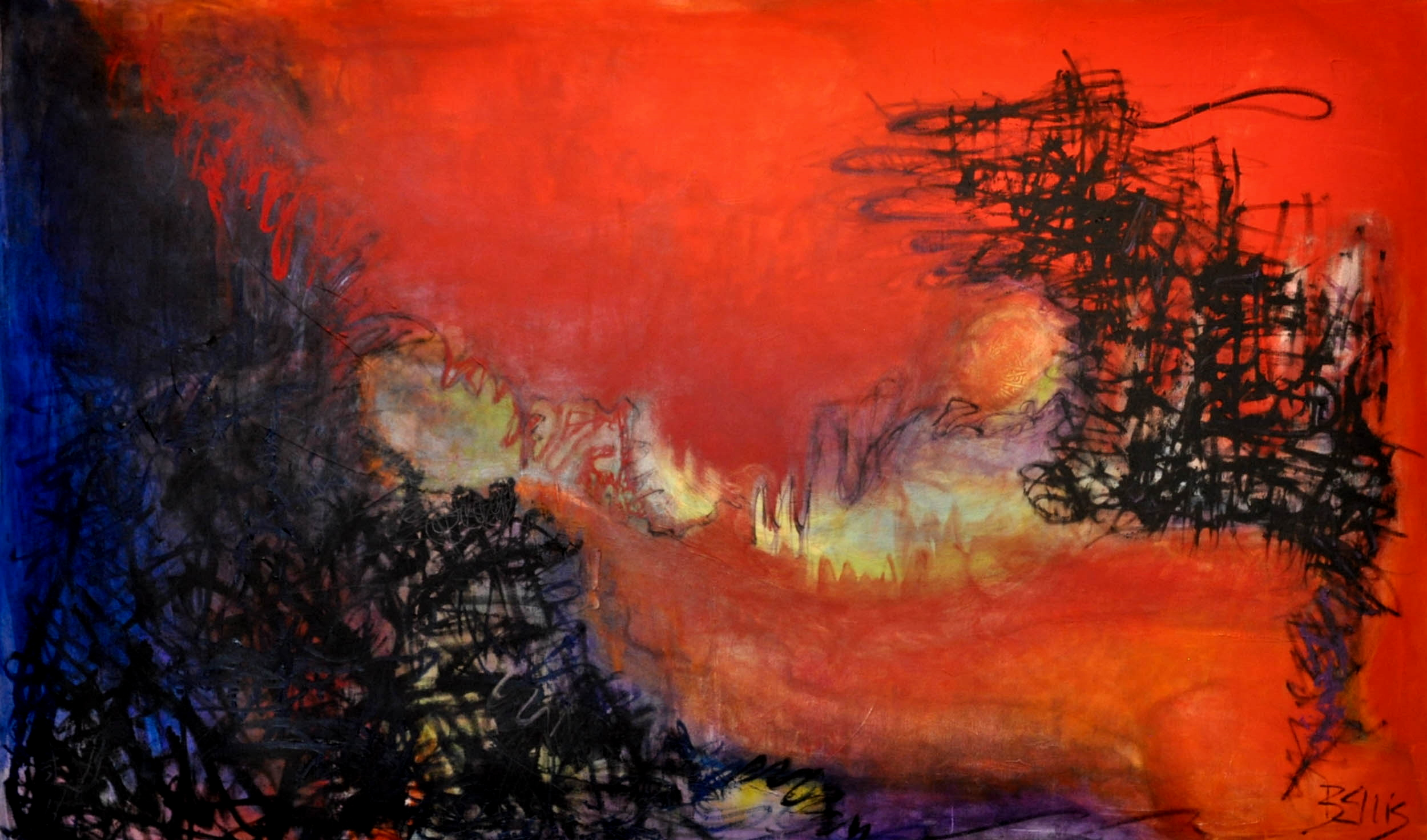 Divisive Season   Acrylic and oil on gallery wrap. 42 X 70 X 1.5