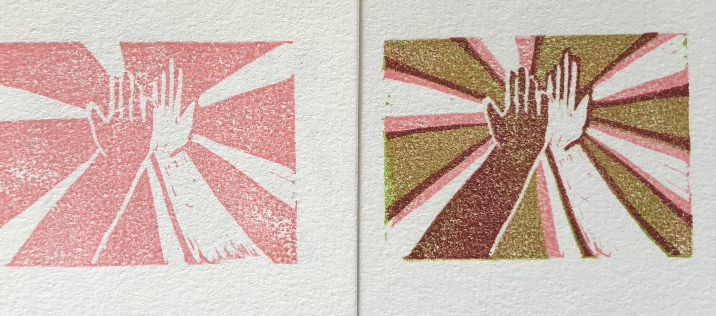 """""""High Five"""" Stamp reduction print by Jeana Hadley."""