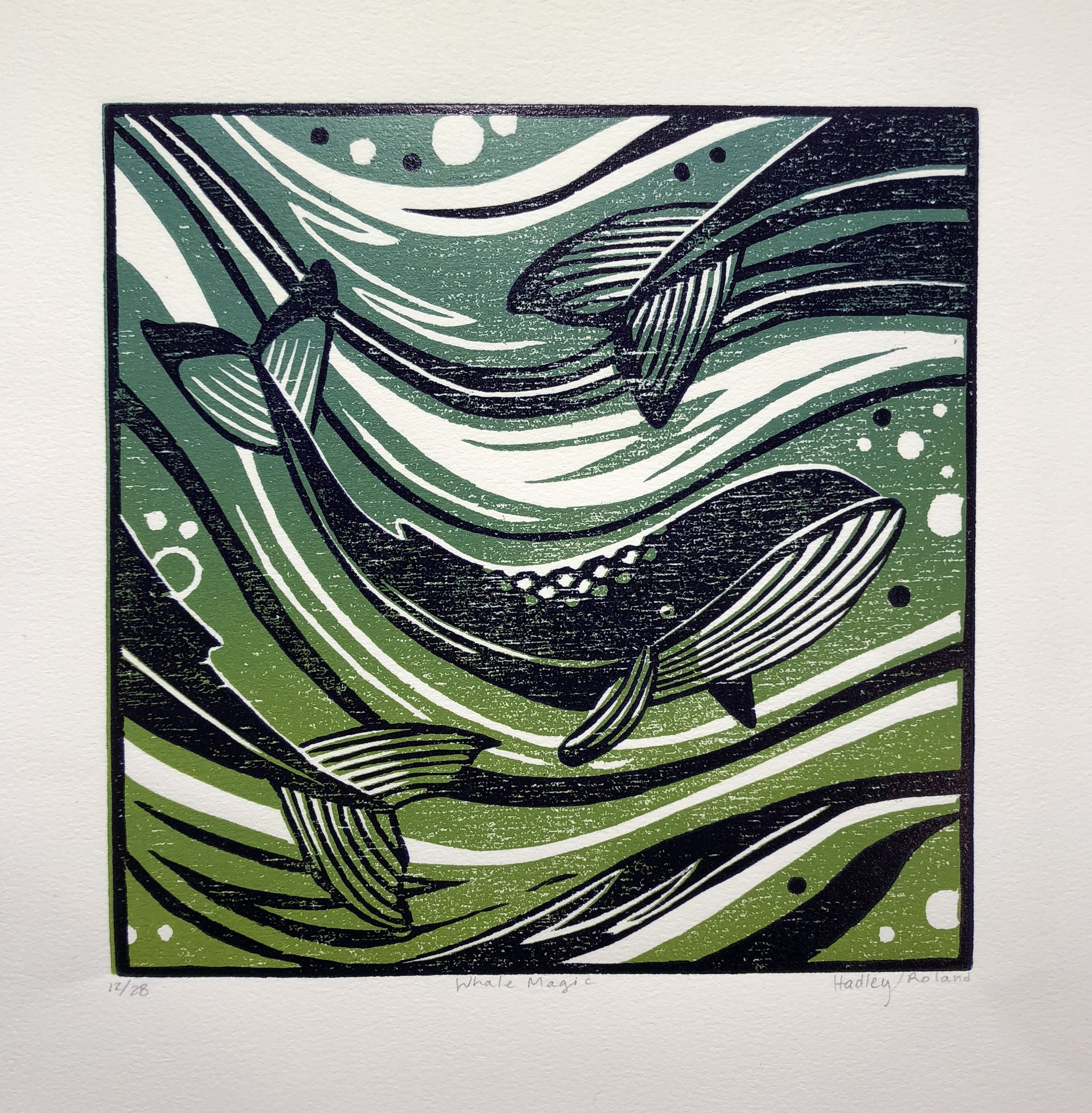 """Whale Magic"" woodcut reduction print by Jeana Hadley and Nathalie Roland"