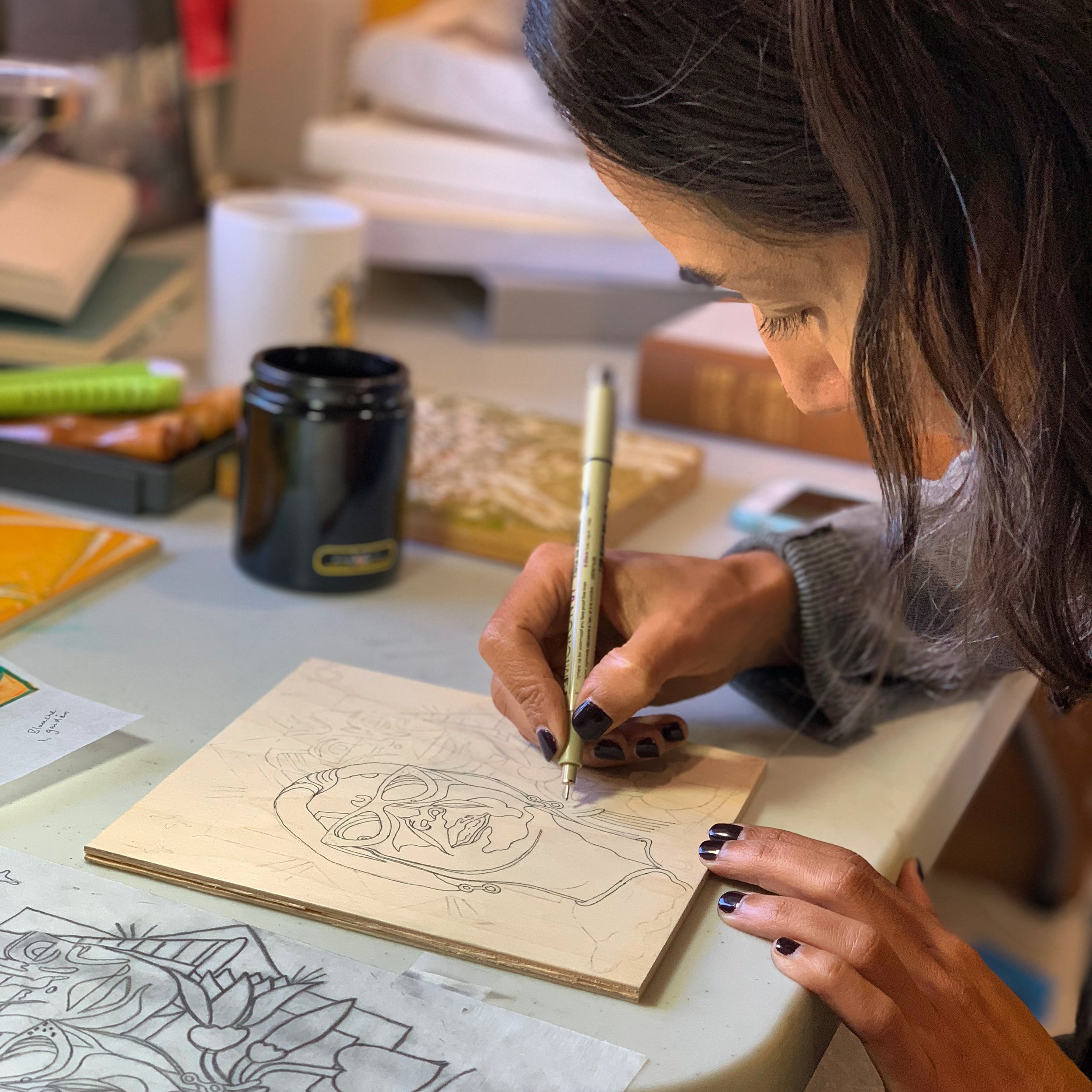 Aicha Idelcadi in the studio at Sunset Paperworks. Photo by Nathalie Roland