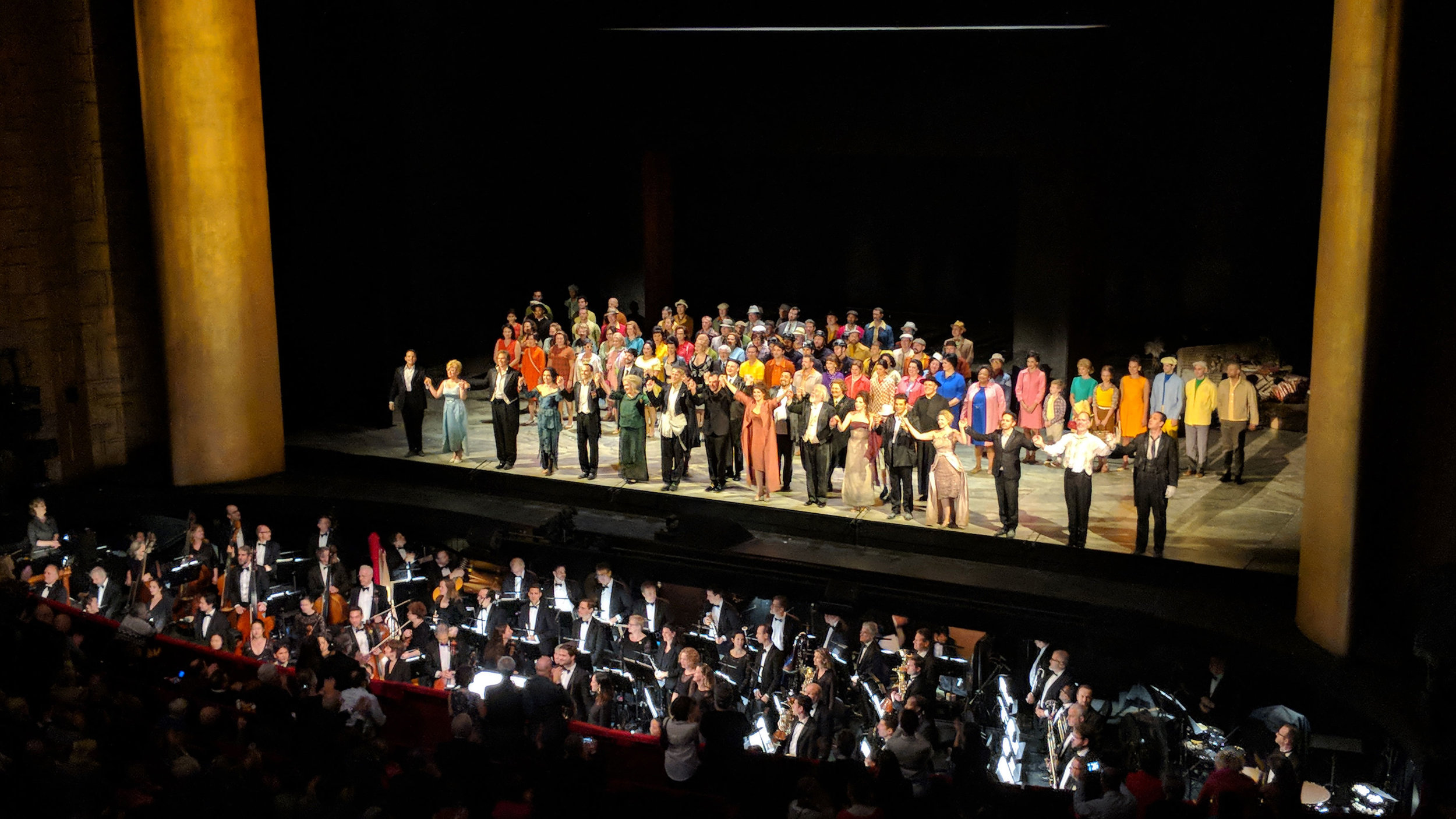 Curtain call after a performance of The Exterminating Angel, by Thomas Adès, at The Metropolitan Opera
