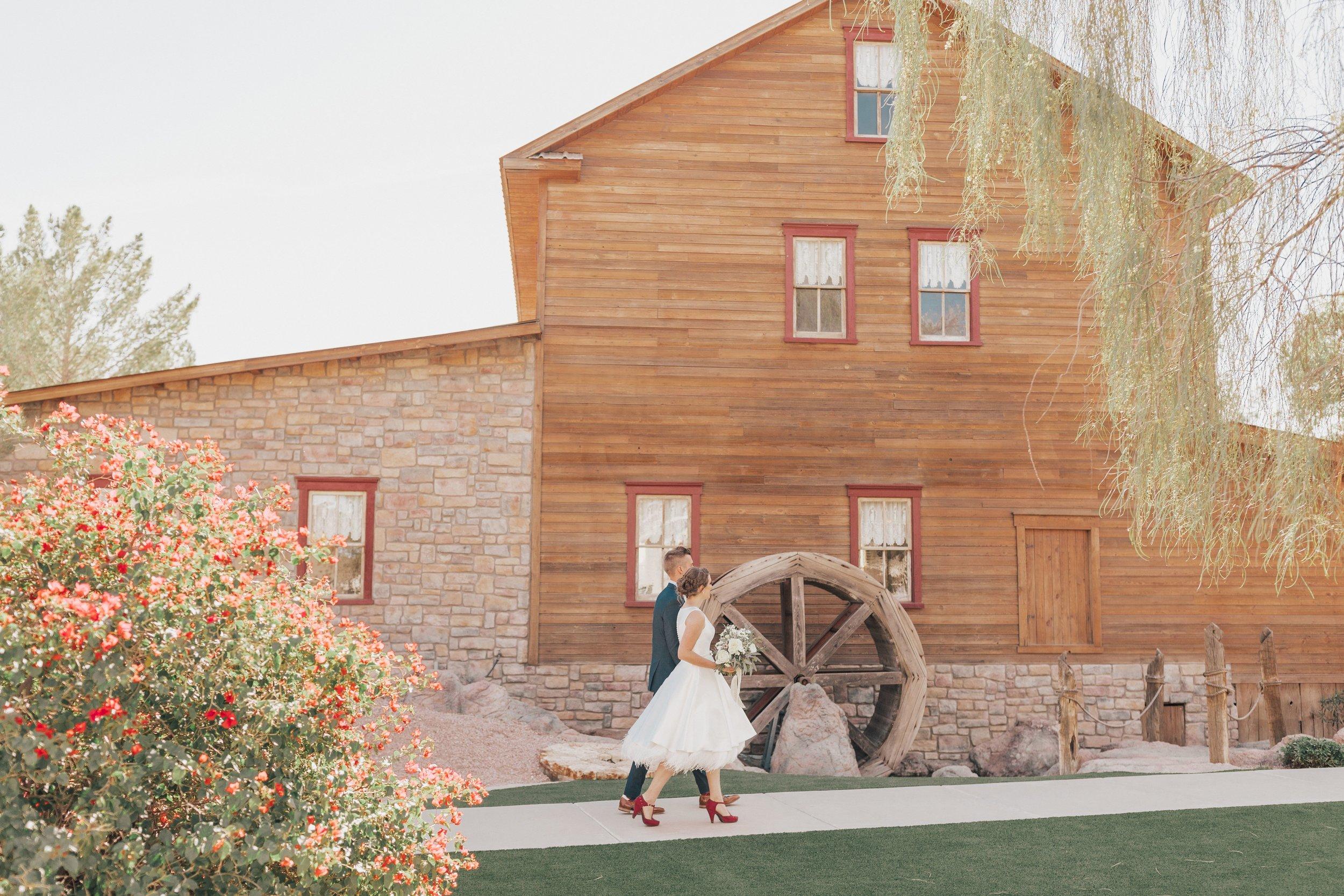 Arizona_Wedding_TheMill_Bridal_BrideAndGroom_redshoes