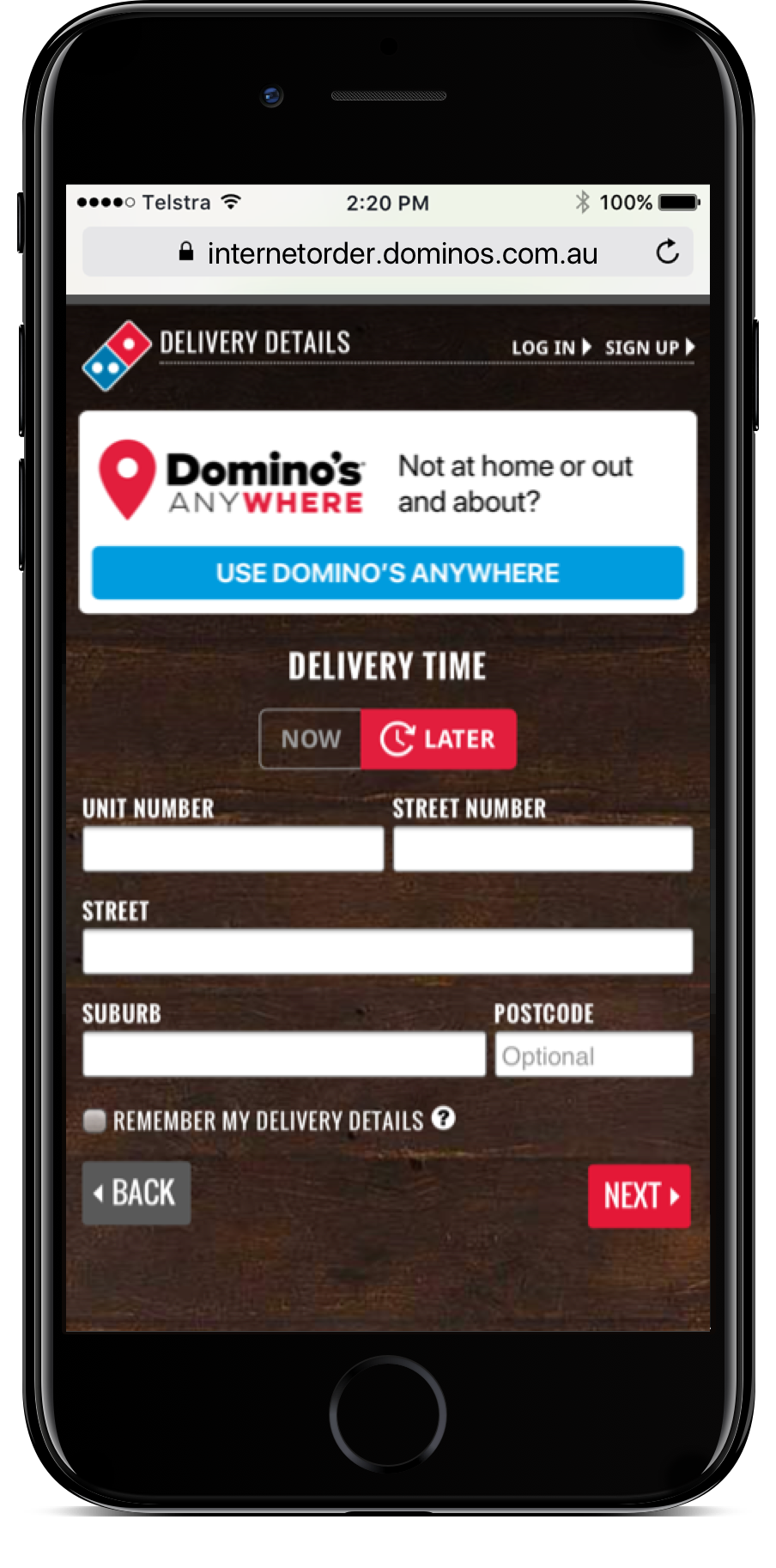 Just select Domino's Anywhere on the Delivery page -