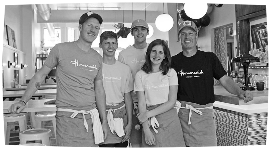 STANDING IN THEIR new Horseradish restaurant are, from left, Matt Trotter, Bennett Drake, Atticus Hiestand, Lauren Pearsall and Alex Pearsall. The Princeton restaurant opened Memorial Day weekend. Ariana Hones photo