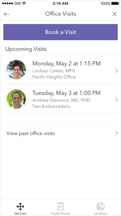 OFFICE VISITS SCREEN