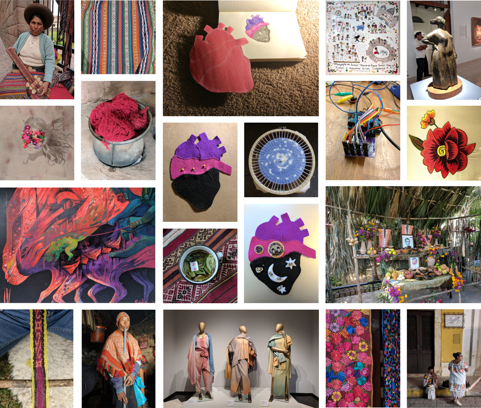 Moodboard of the inspiring art, craft and tech I've been experiencing in the last few months