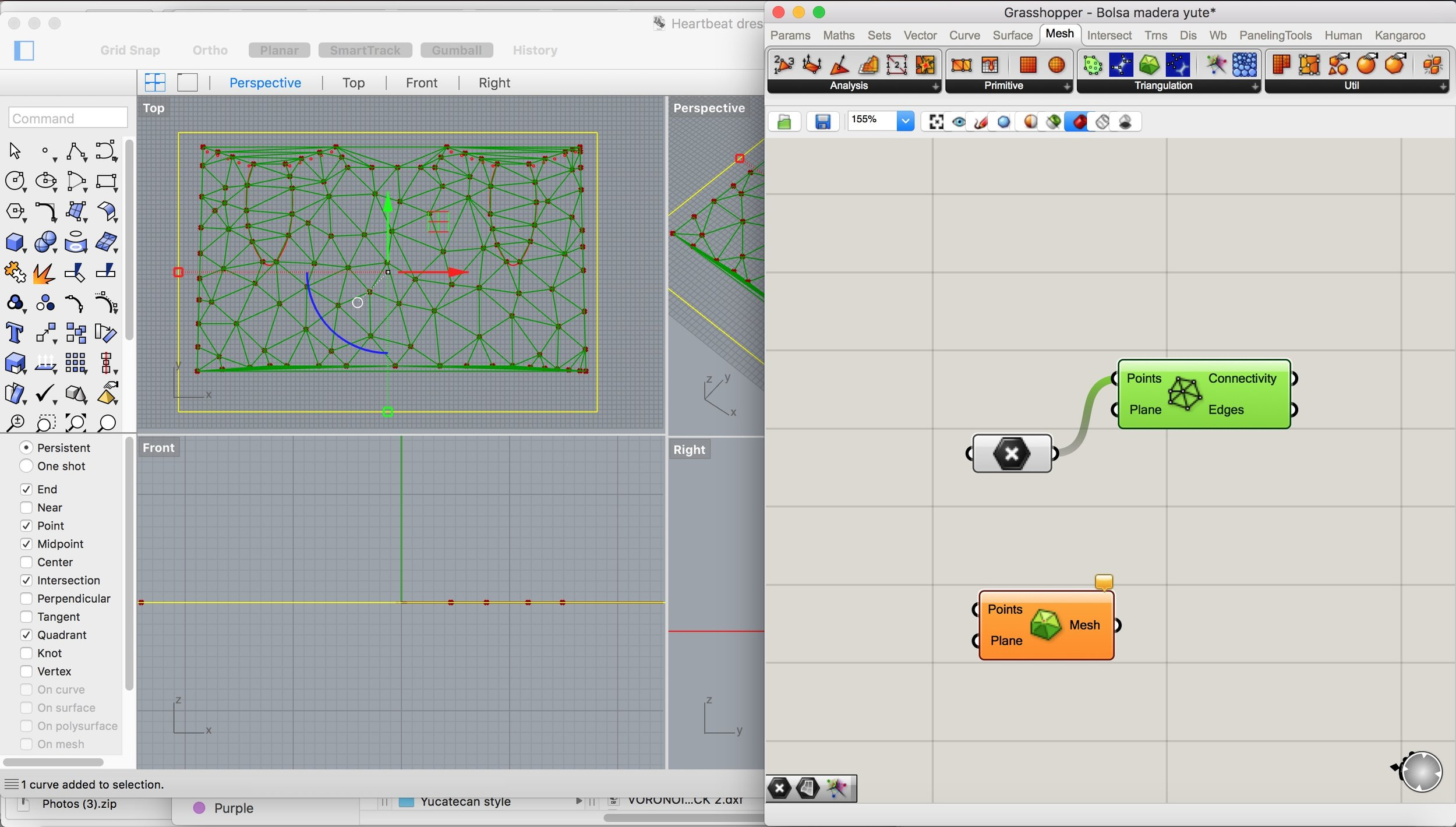 Screenshot of the Rhino file with Grasshopper definition overlaid showing the Delaunay Edges