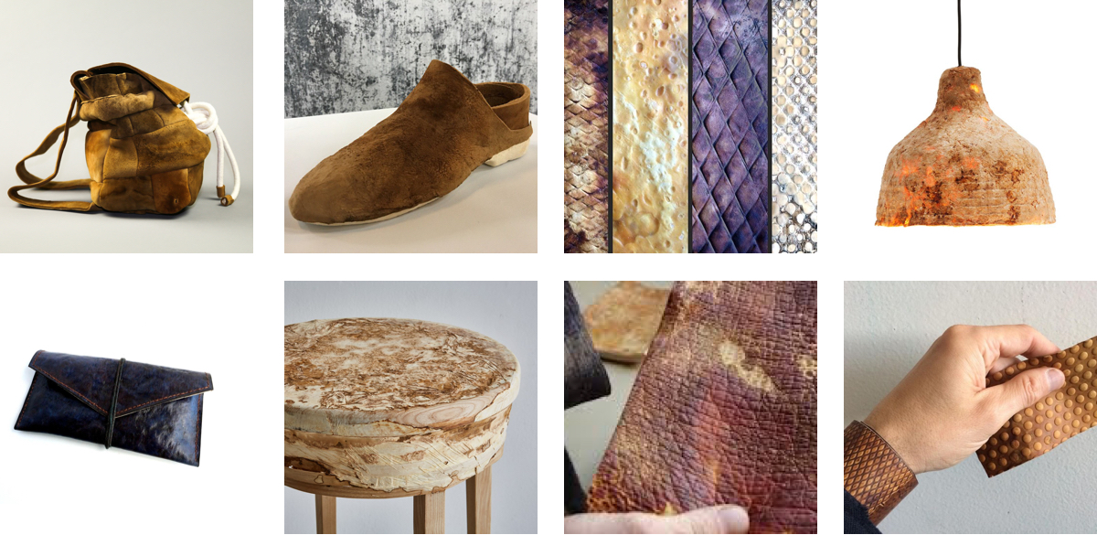 """The images were gathered on Google by using the search """"mycelium leather""""."""