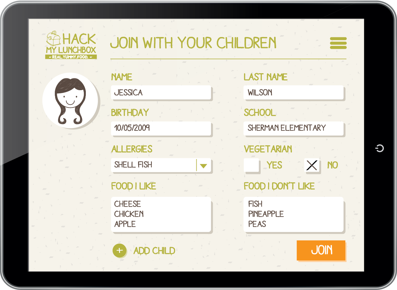 SIGN UP FORM - COMPLETED  Once the user has completed the child/children's profile, she/he clicks on the JOIN BUTTON, which becomes orange when the profile is submitted.