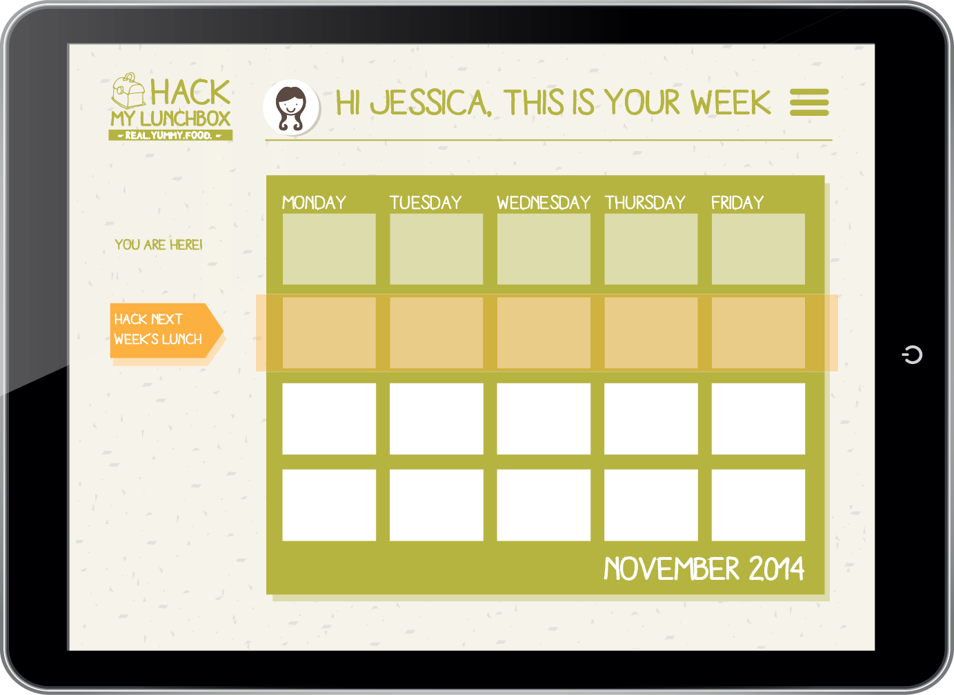 MONTHLY CALENDAR VIEW -  The user has an overview of the month, highlighting the current week in green and the next week in orange. The arrow triggers to click and go hack the lunches.