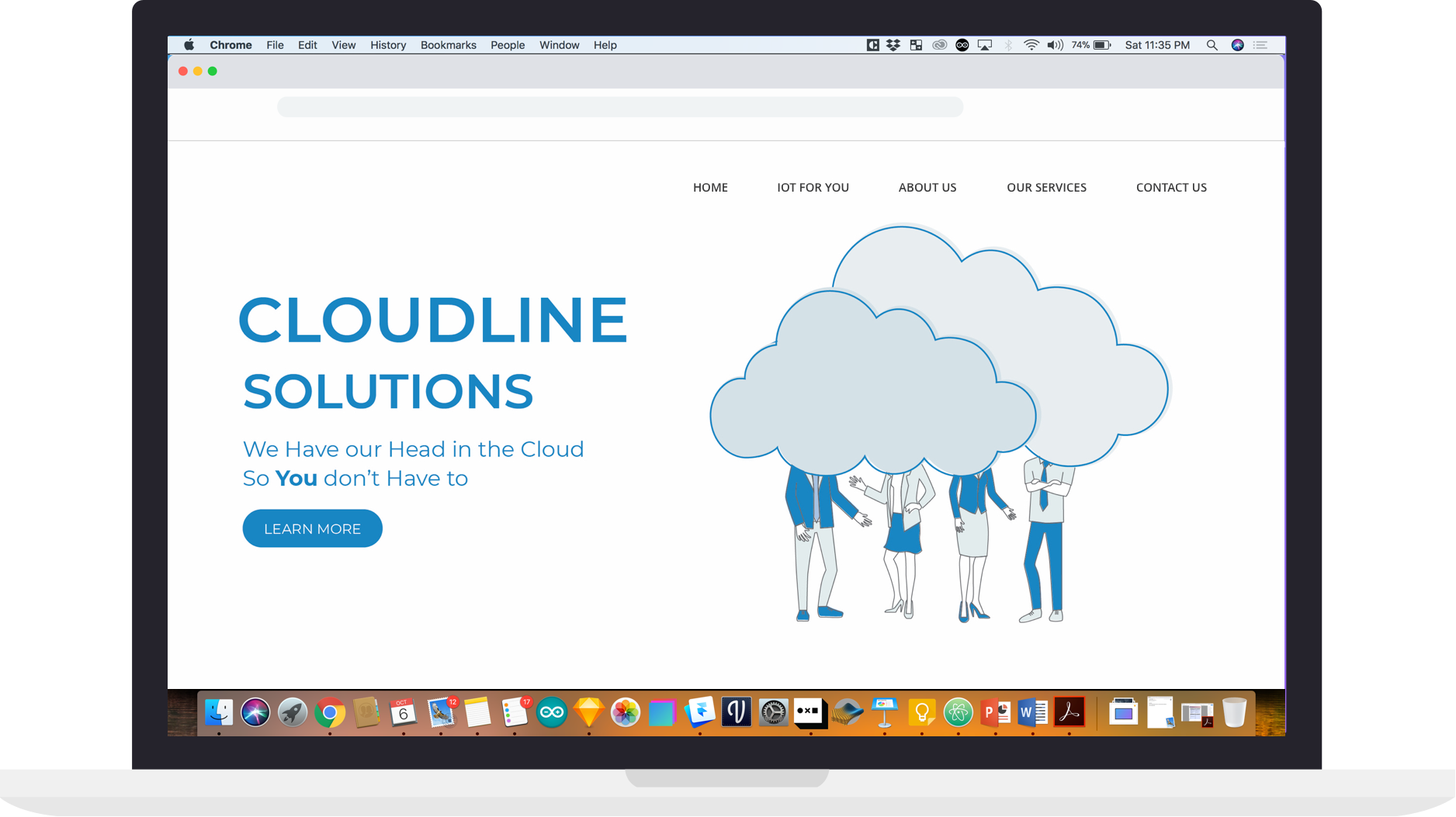 Landing page proposal with white background. Final choice of the client.
