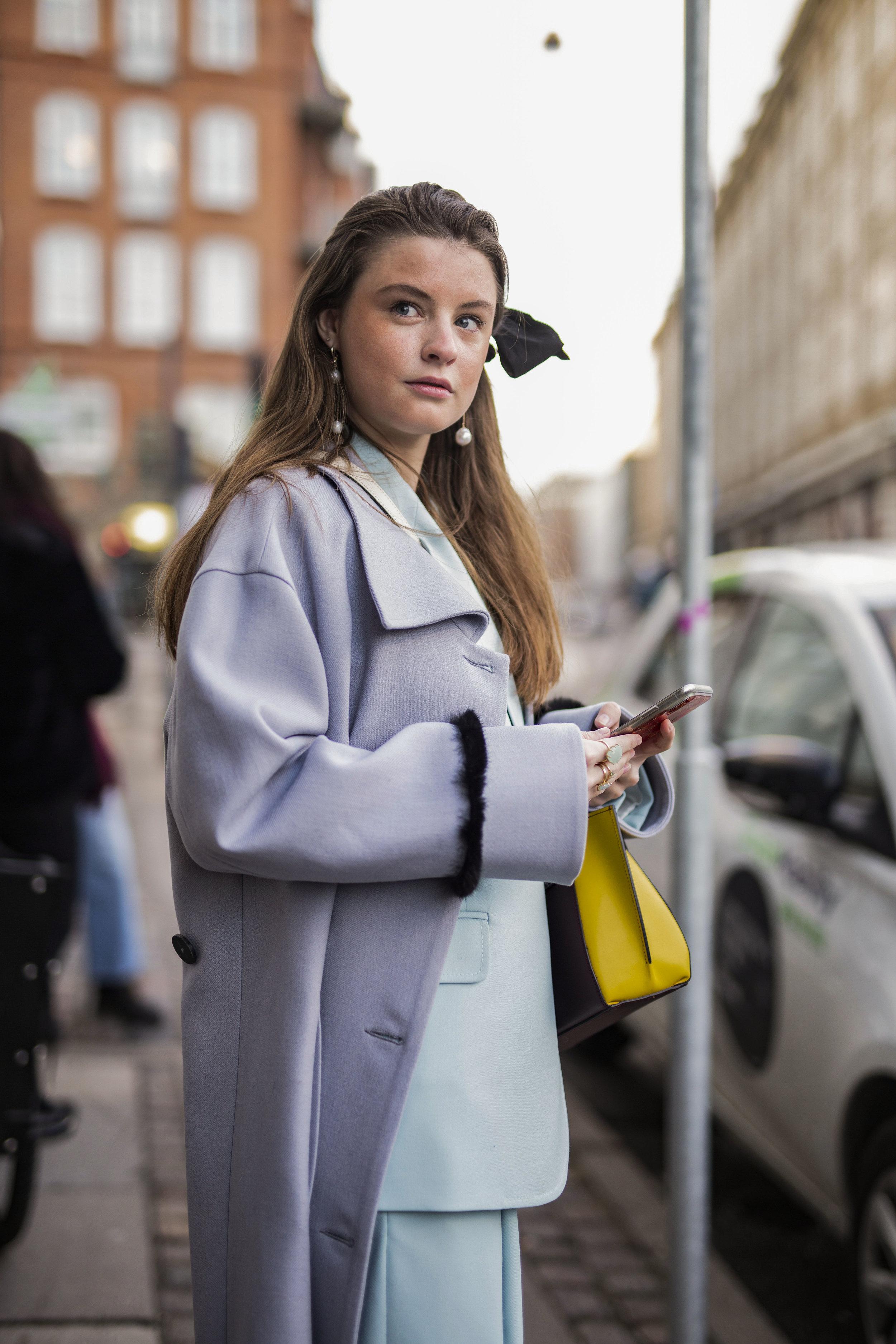 Alberte Whitta on the streets of Copenhagen during Fashion Week Streetstyle