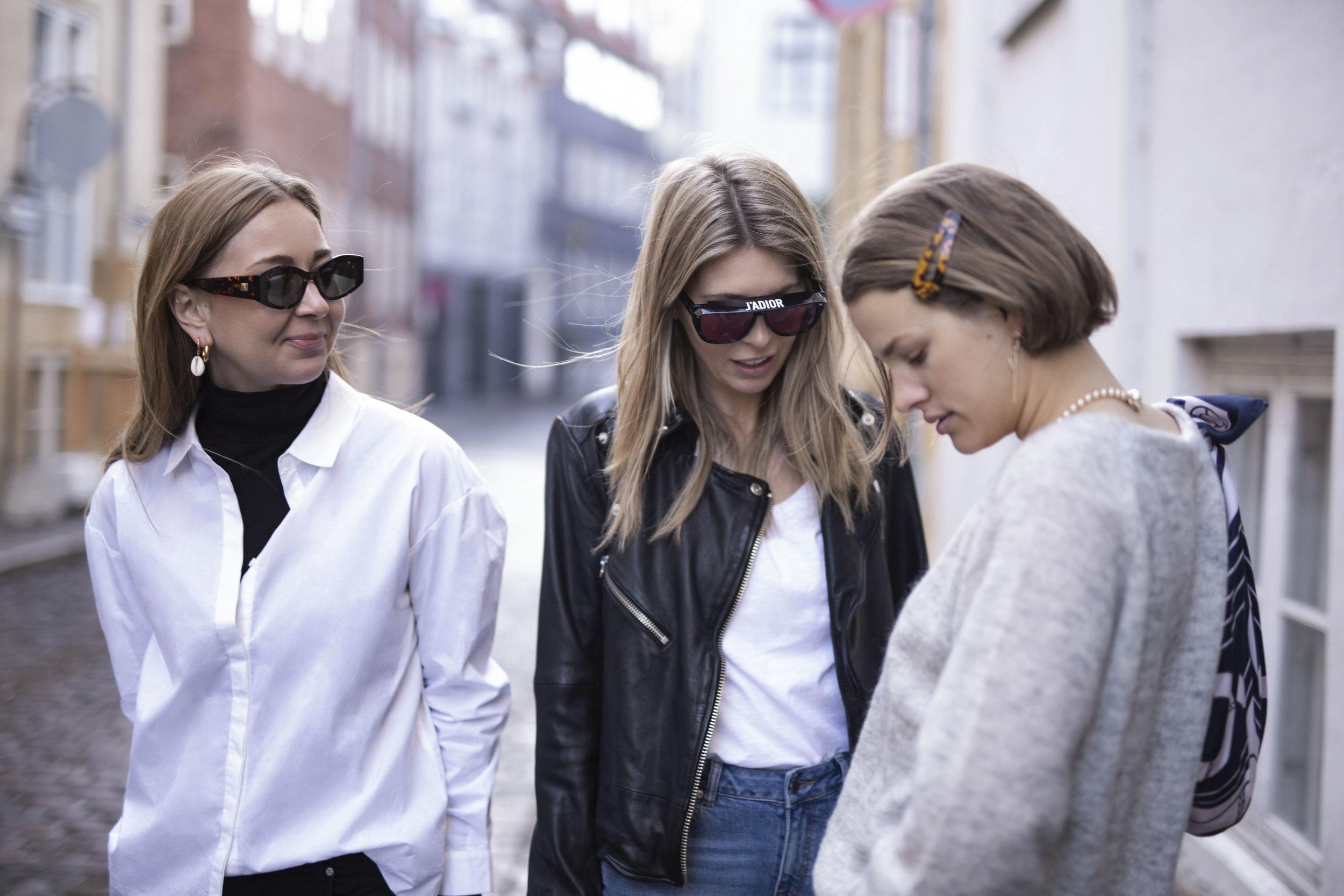 Katrine Krog, Cathrine Marie and Julie Blichfeld on the streets of Copenhagen wearing Denim Hunter clothes