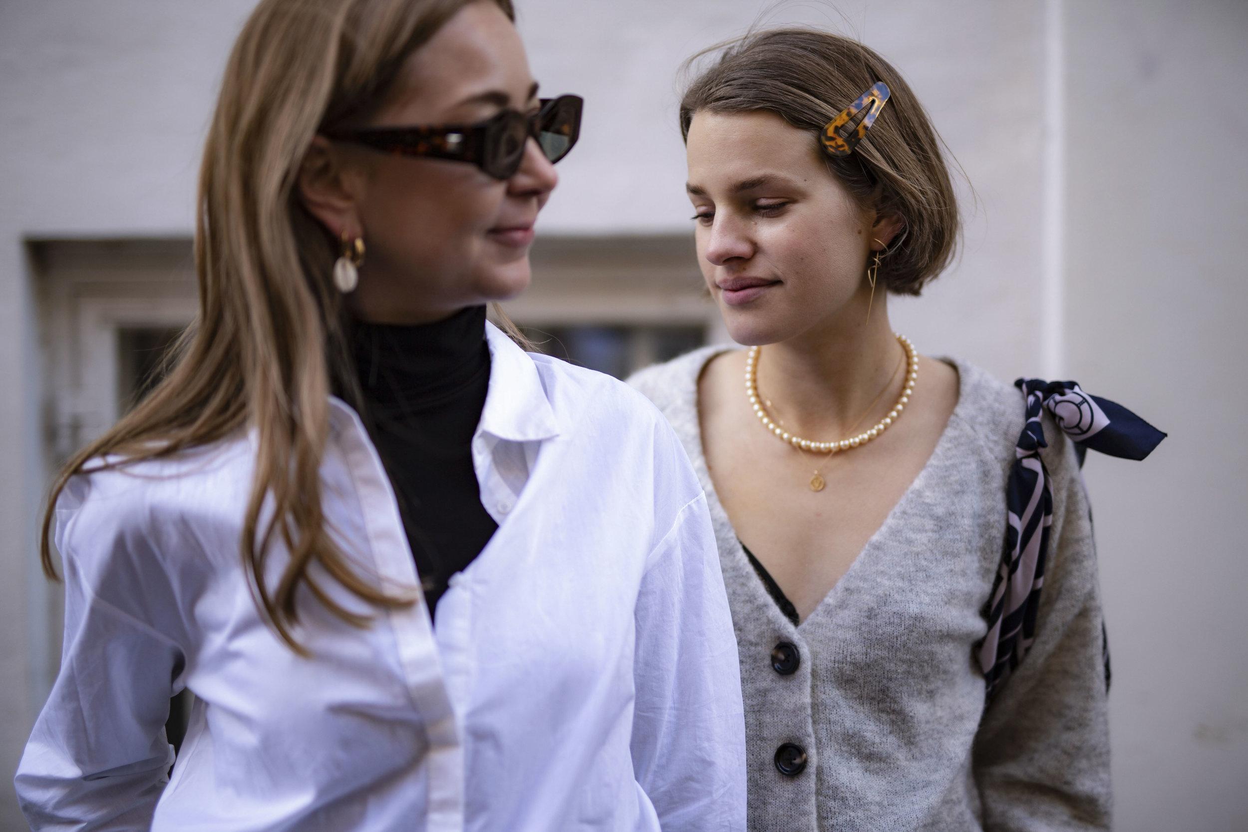 Katrine Krog and Julie Blichfeld on the streets of Copenhagen wearing Denim Hunter clothes