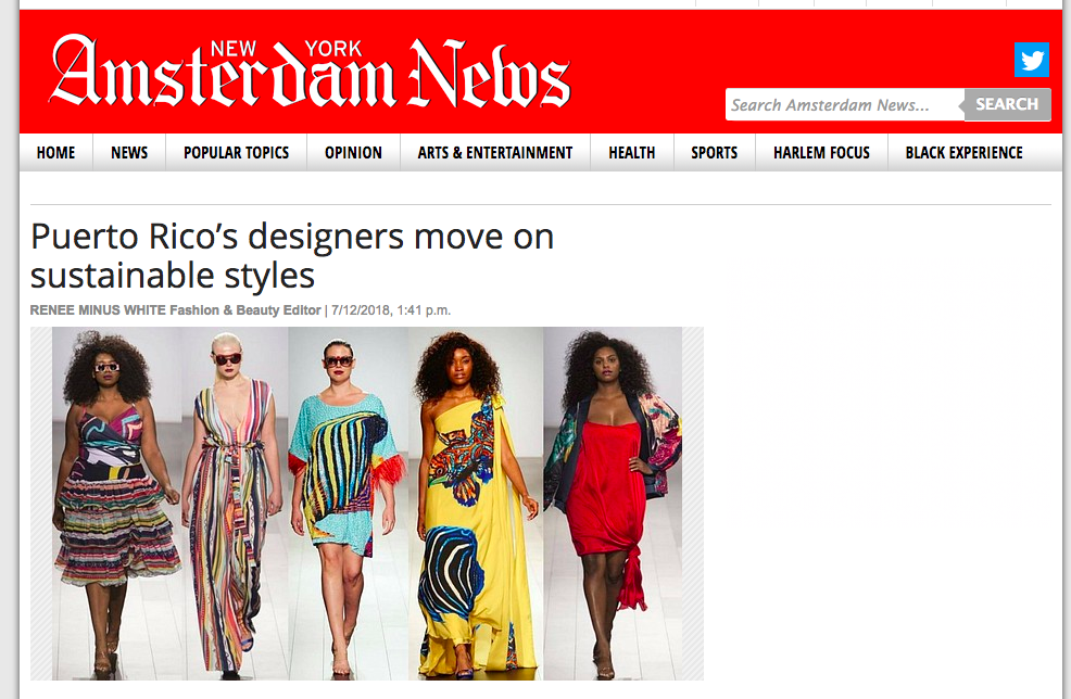 Copy of NY Amesterdam News: Puerto Rico's designers move on sustainable styles